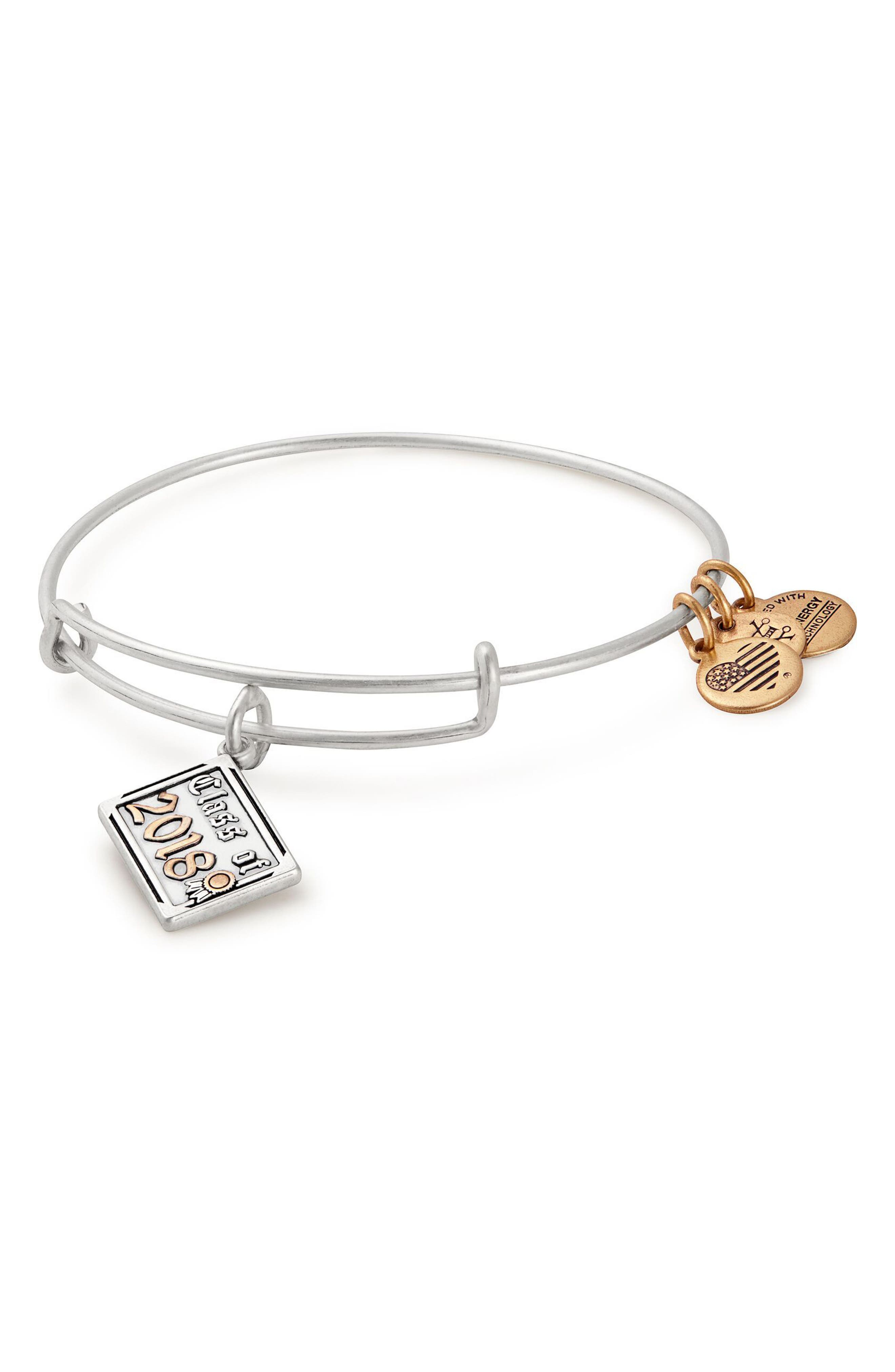 Class of 2018 Charm Bangle,                             Main thumbnail 1, color,                             Silver