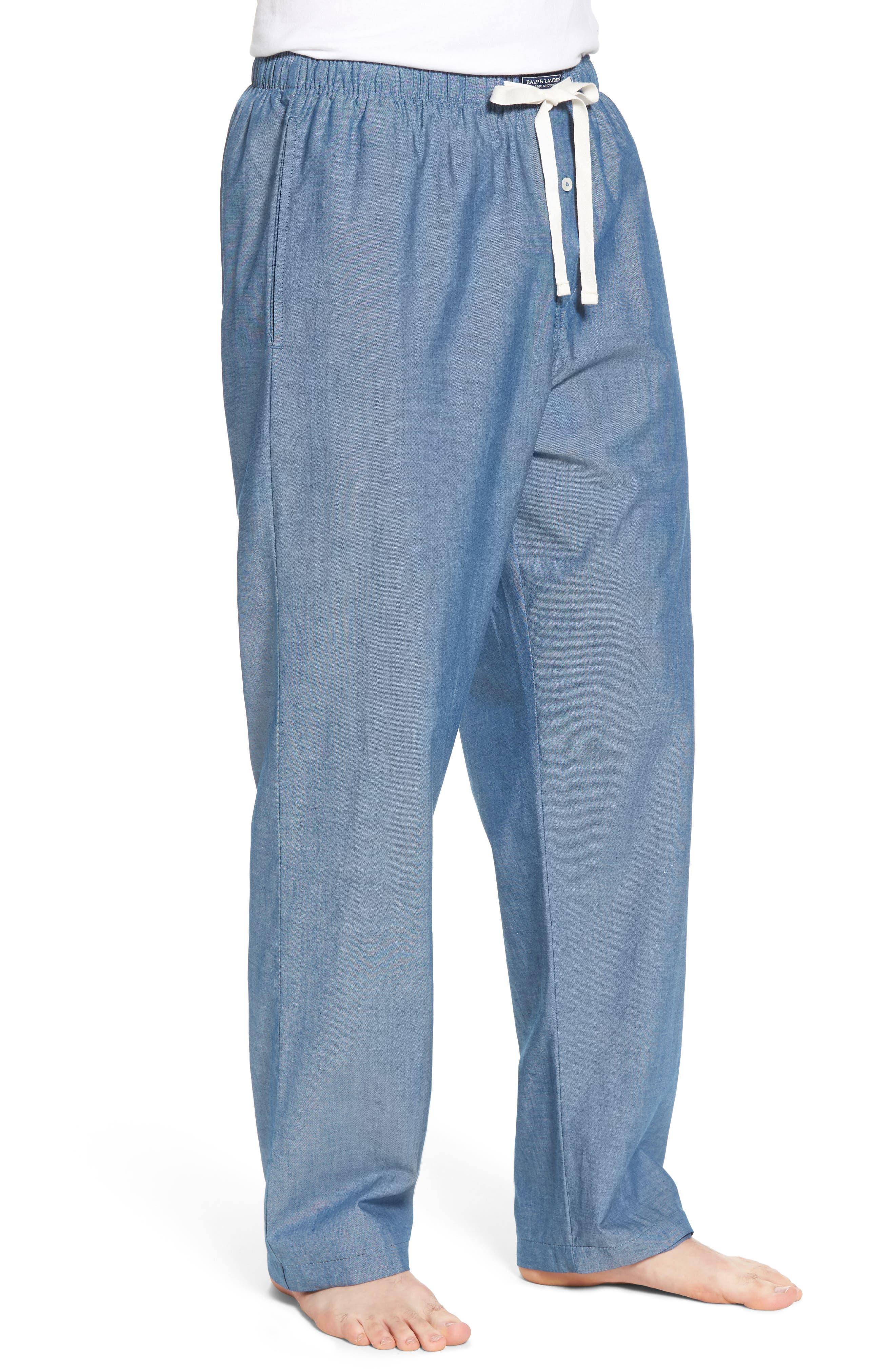Chambray Woven Lounge Pants,                             Alternate thumbnail 3, color,                             Medium Indigo/ Dark Indigo