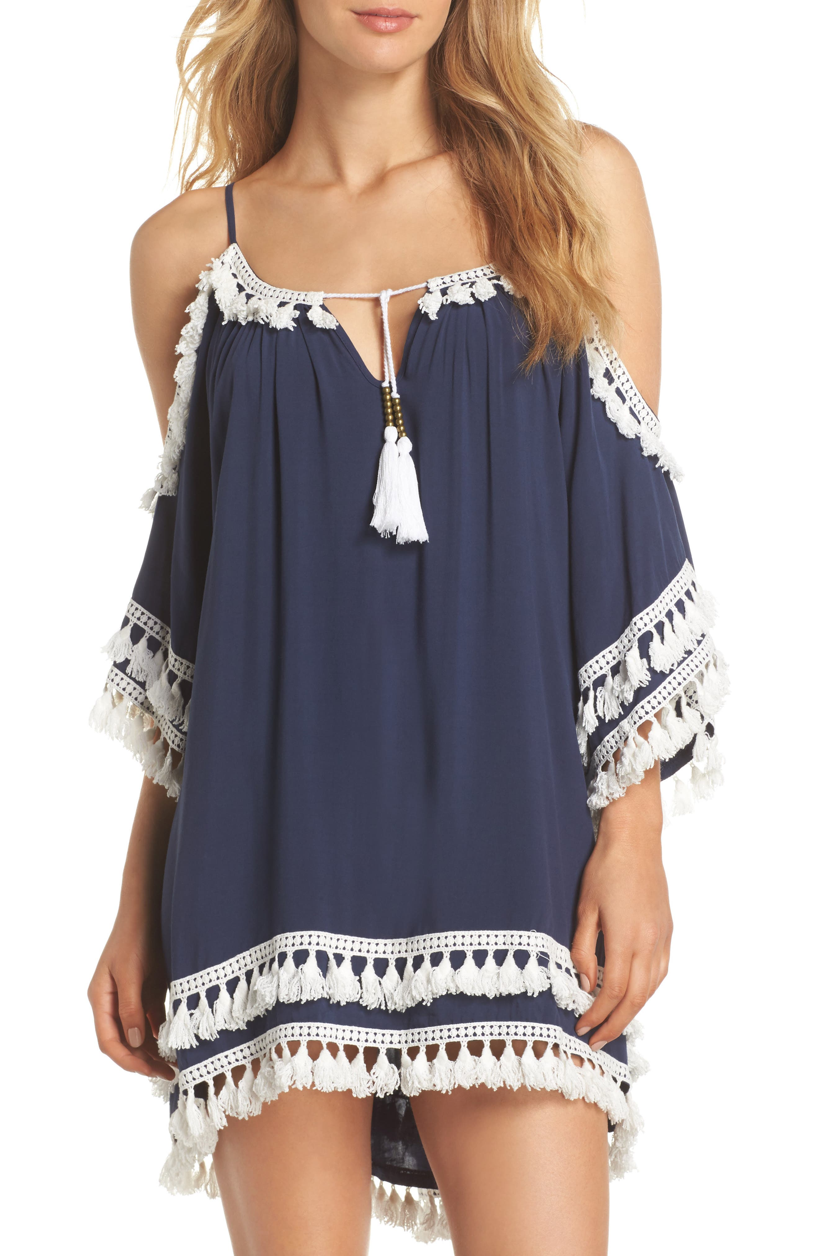Tassled Cold Shoulder Cover-Up Tunic,                         Main,                         color, Indigo/ White