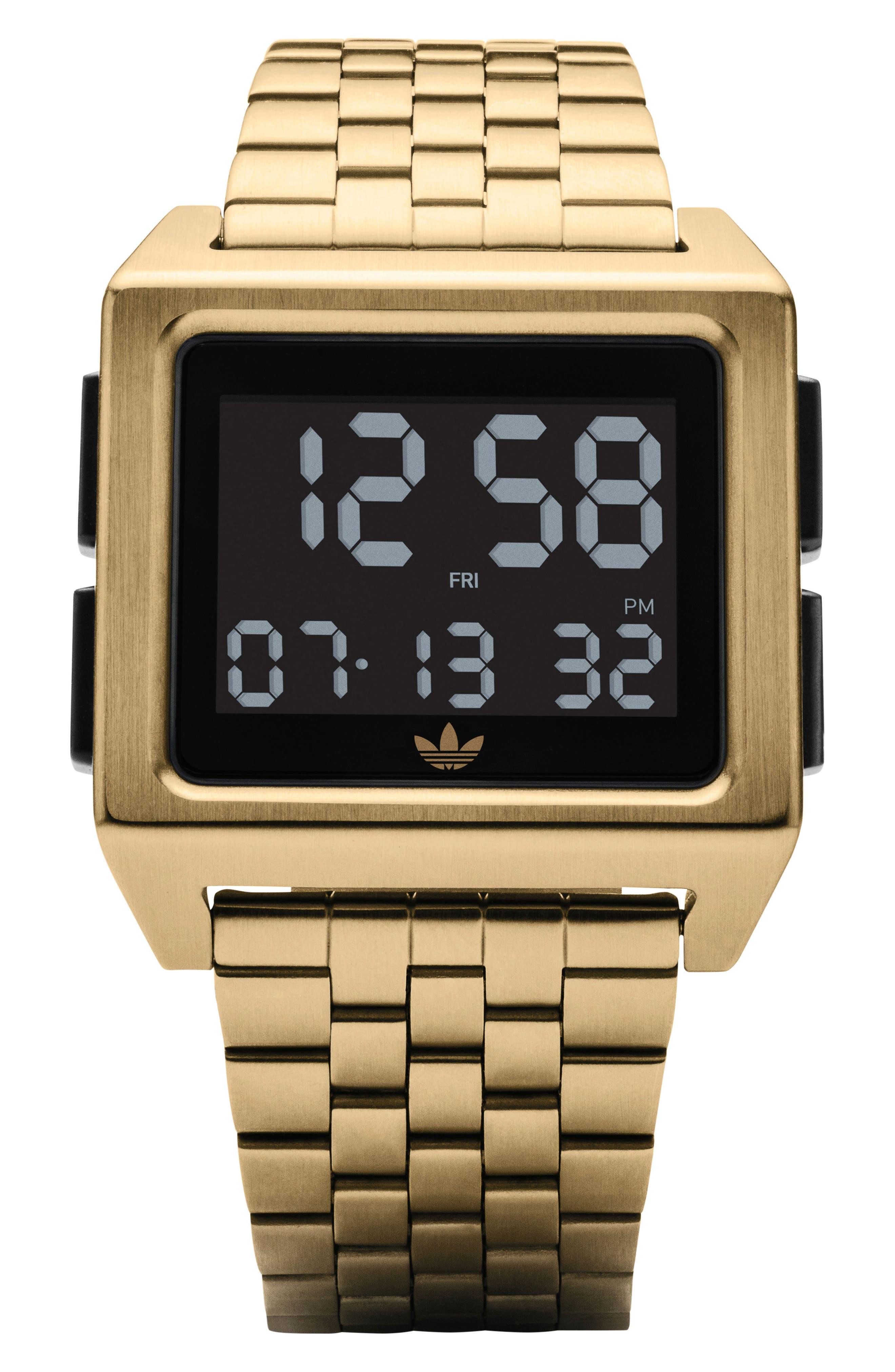 Archive Digital Bracelet Watch, 36mm,                             Main thumbnail 1, color,                             Gold/ Black