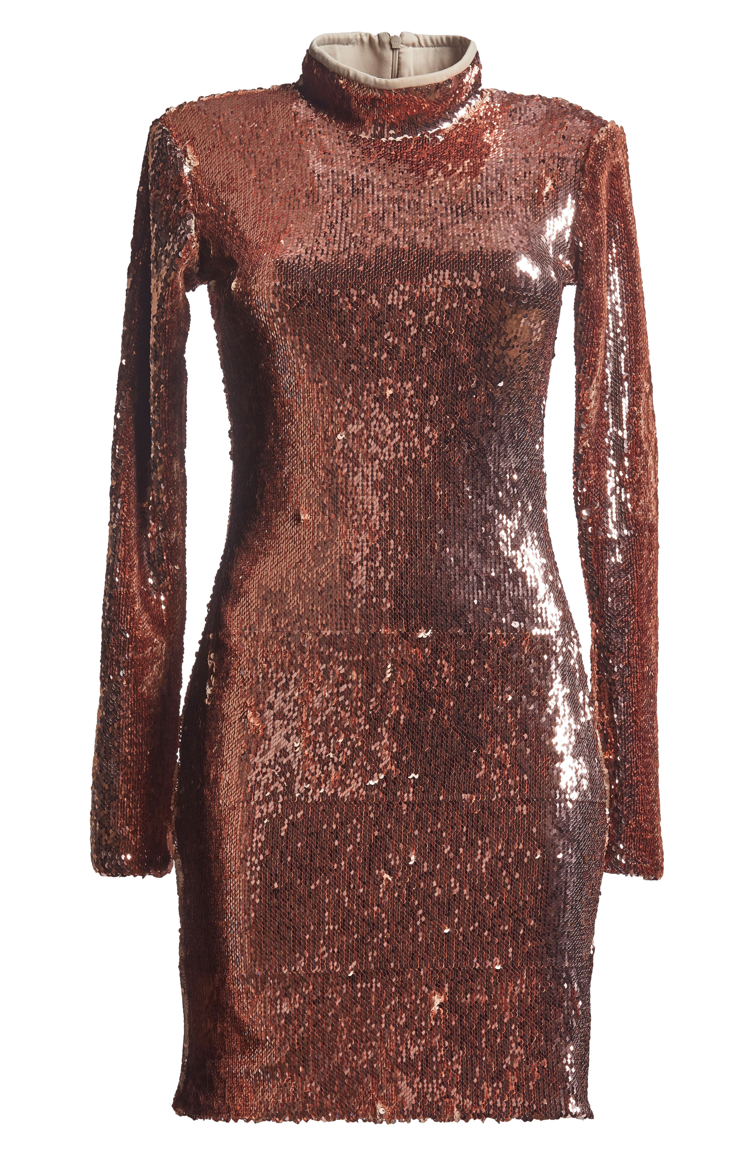 Katy Reversible Sequin Body-Con Dress,                             Alternate thumbnail 7, color,                             Rose Gold/ Nude