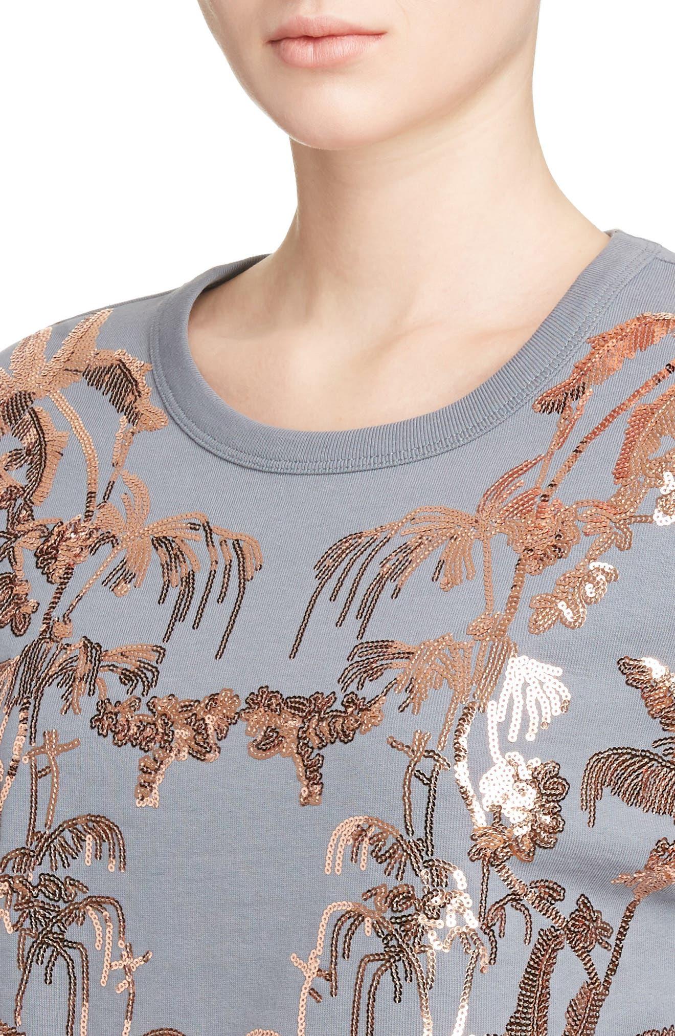 Sequin Embellished Sweatshirt,                             Alternate thumbnail 4, color,                             Grey