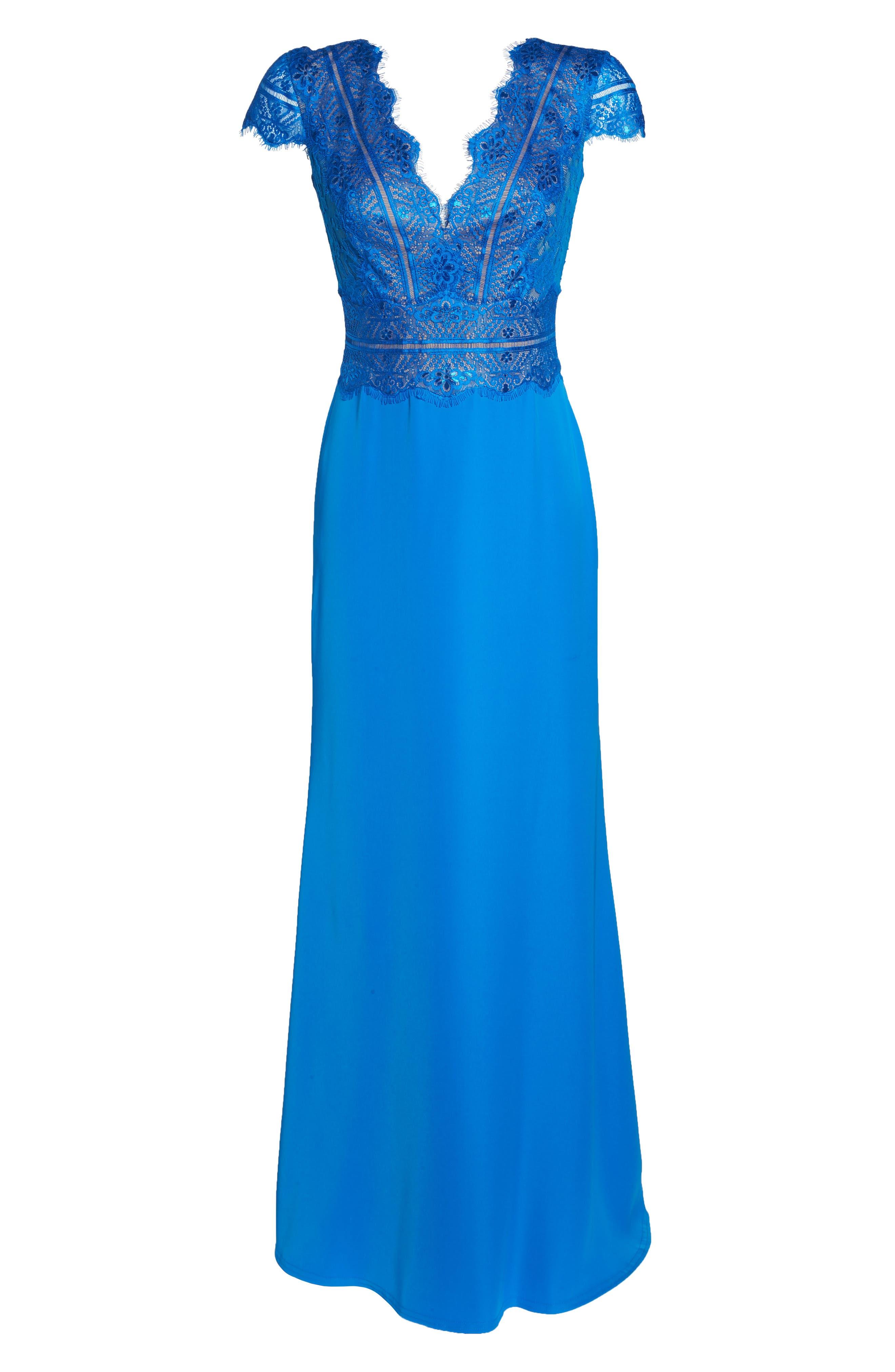 Lace & Crepe A-Line Gown,                             Alternate thumbnail 6, color,                             Azure
