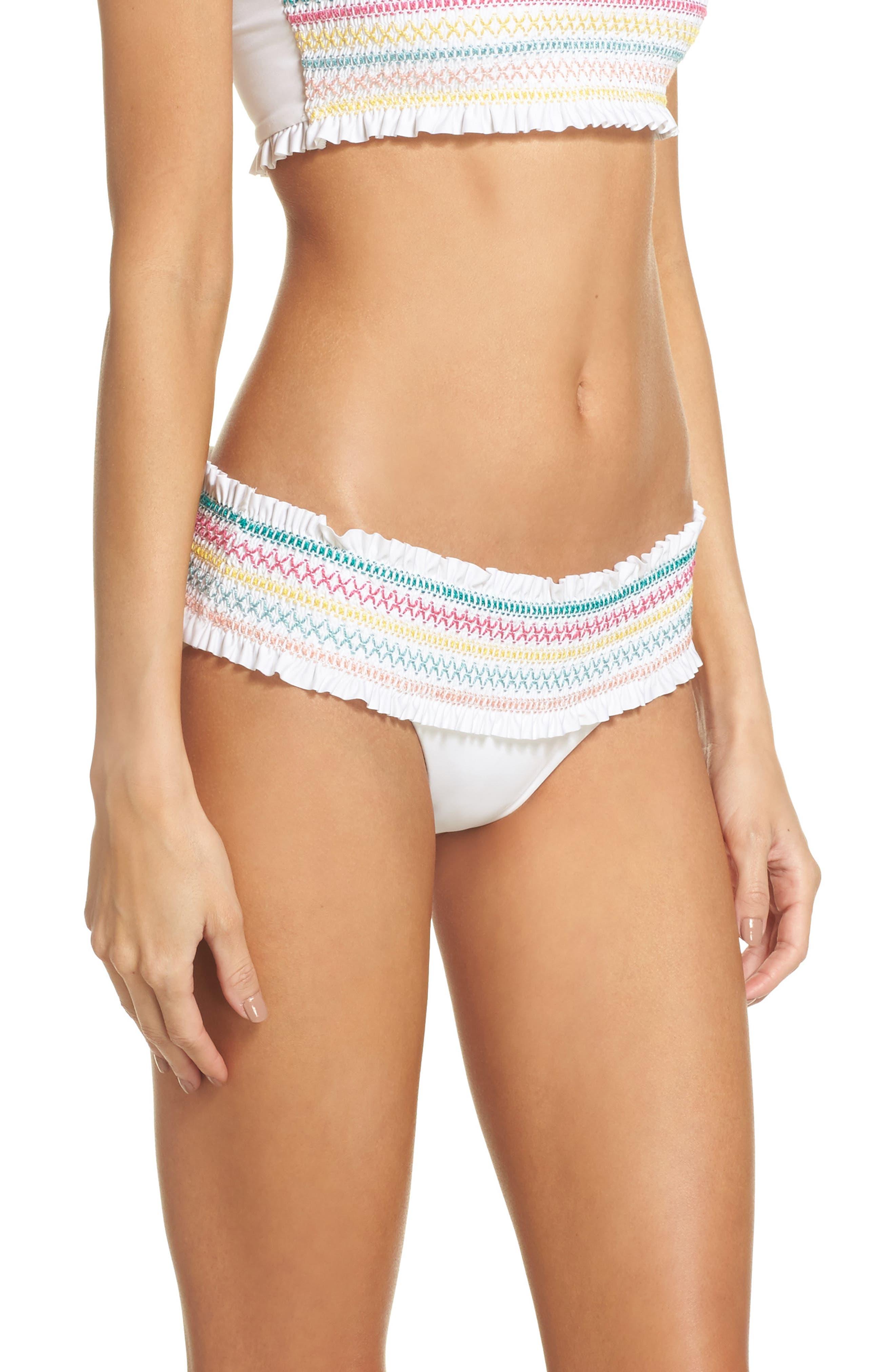 Crystal Cove Smocked Bikini Bottoms,                             Alternate thumbnail 3, color,                             White