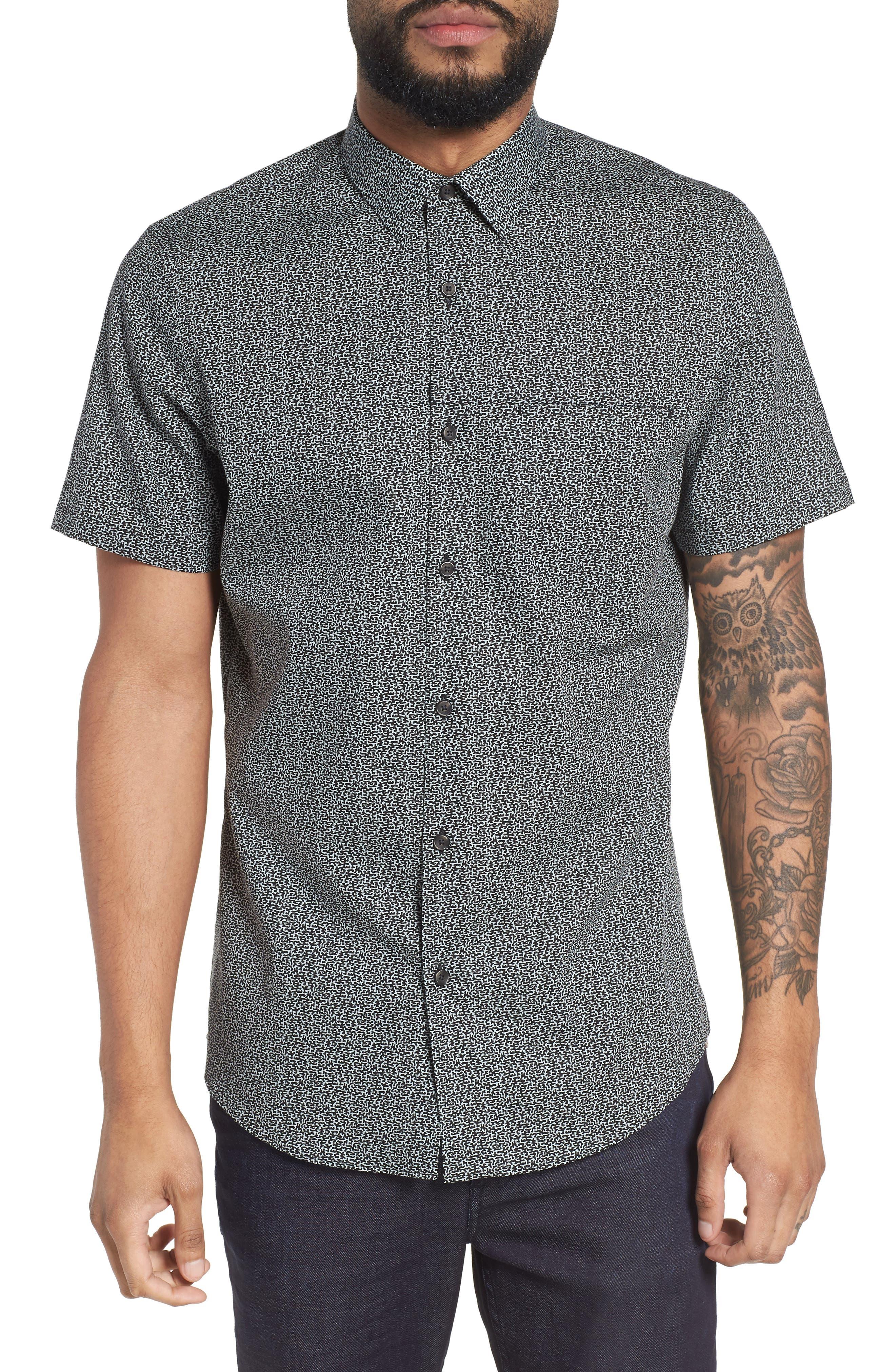 Trim Fit Print Sport Shirt,                         Main,                         color, Blue Cloud Black Abstract