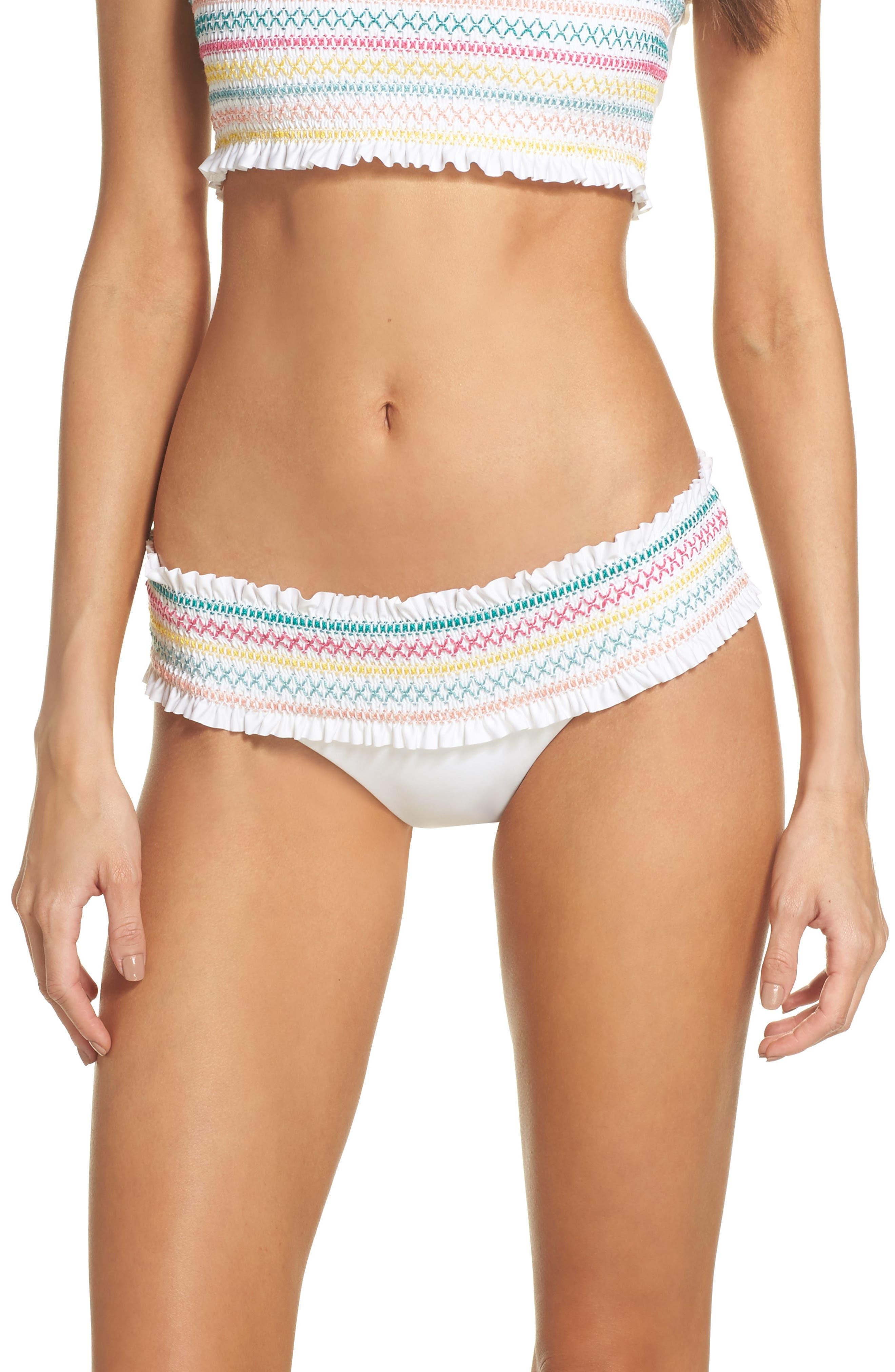 Crystal Cove Smocked Bikini Bottoms,                             Main thumbnail 1, color,                             White