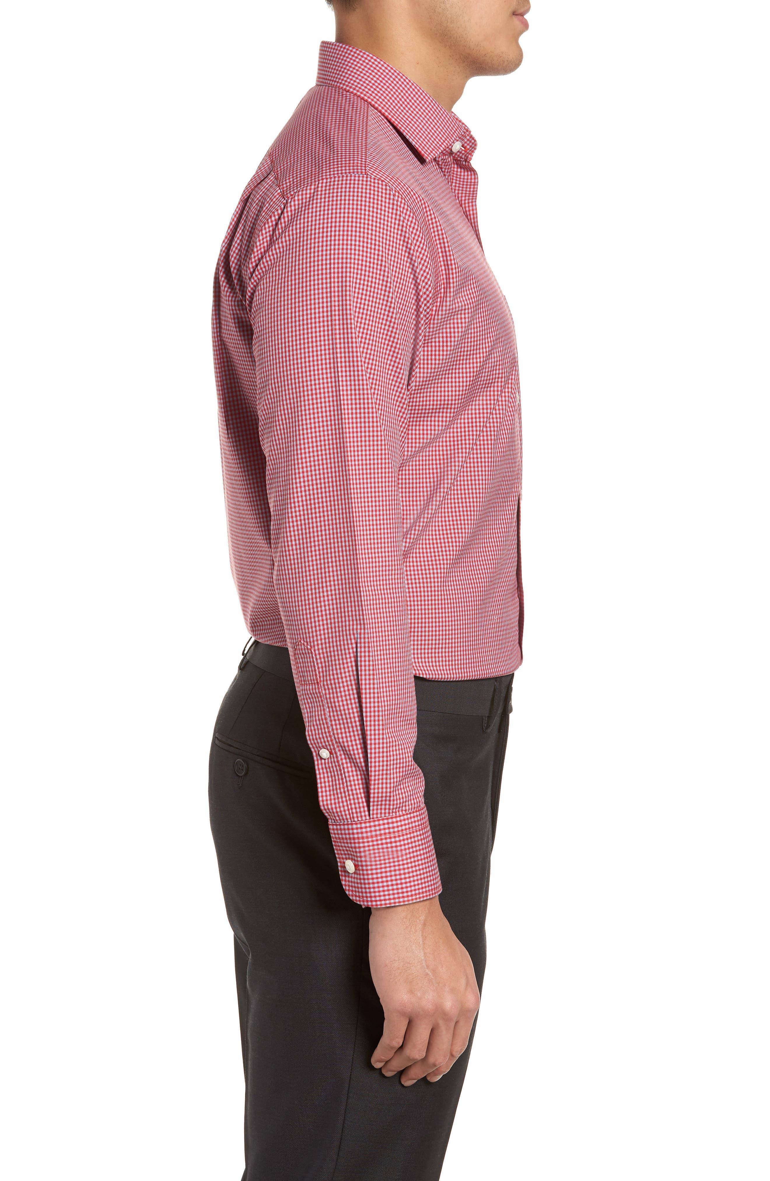 Smartcare<sup>™</sup> Trim Fit Check Dress Shirt,                             Alternate thumbnail 4, color,                             Red Barbados