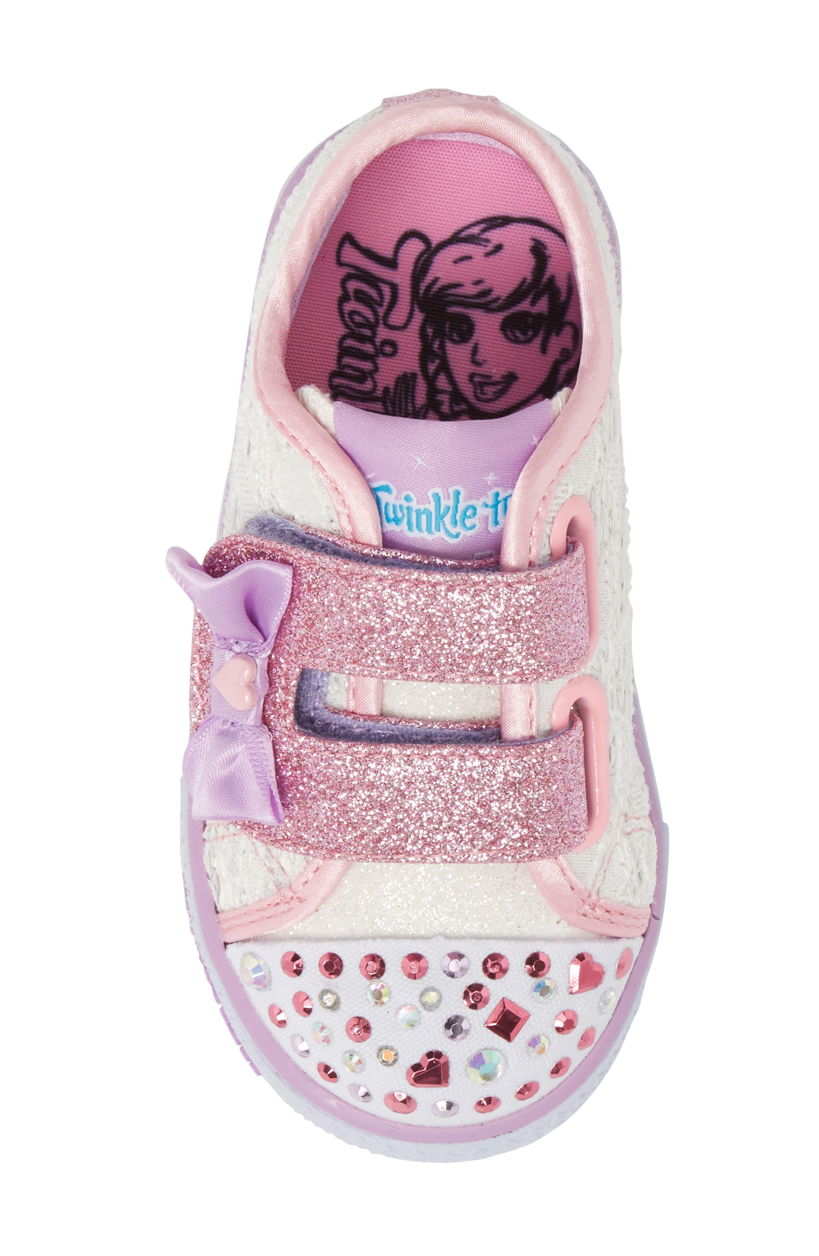 Twinkle Toes Shuffles Light-Up Glitter Sneaker,                             Alternate thumbnail 5, color,                             White/ Silver/ Light Pink