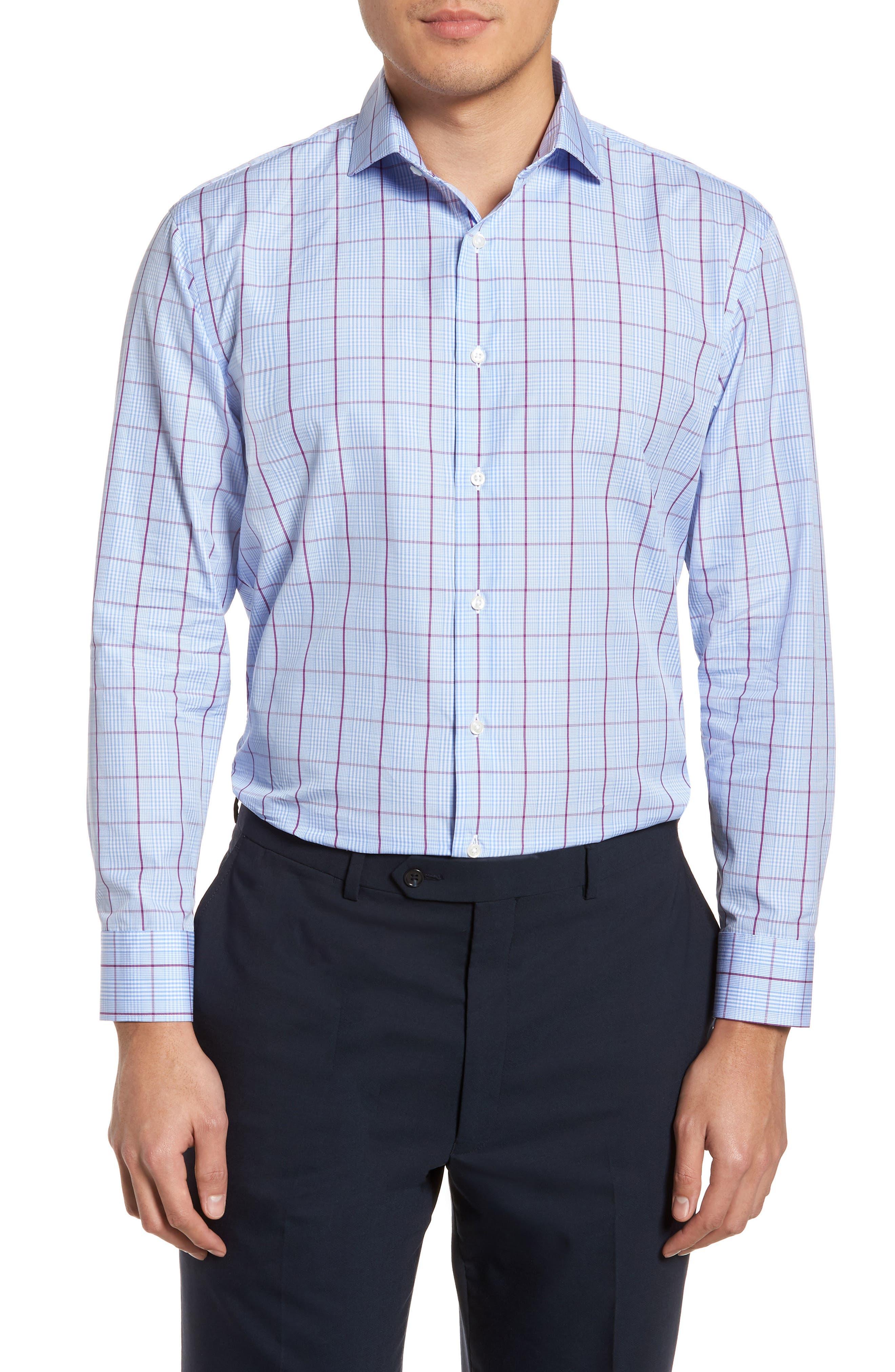 Trim Fit Plaid Dress Shirt,                         Main,                         color, Purple Sparkle