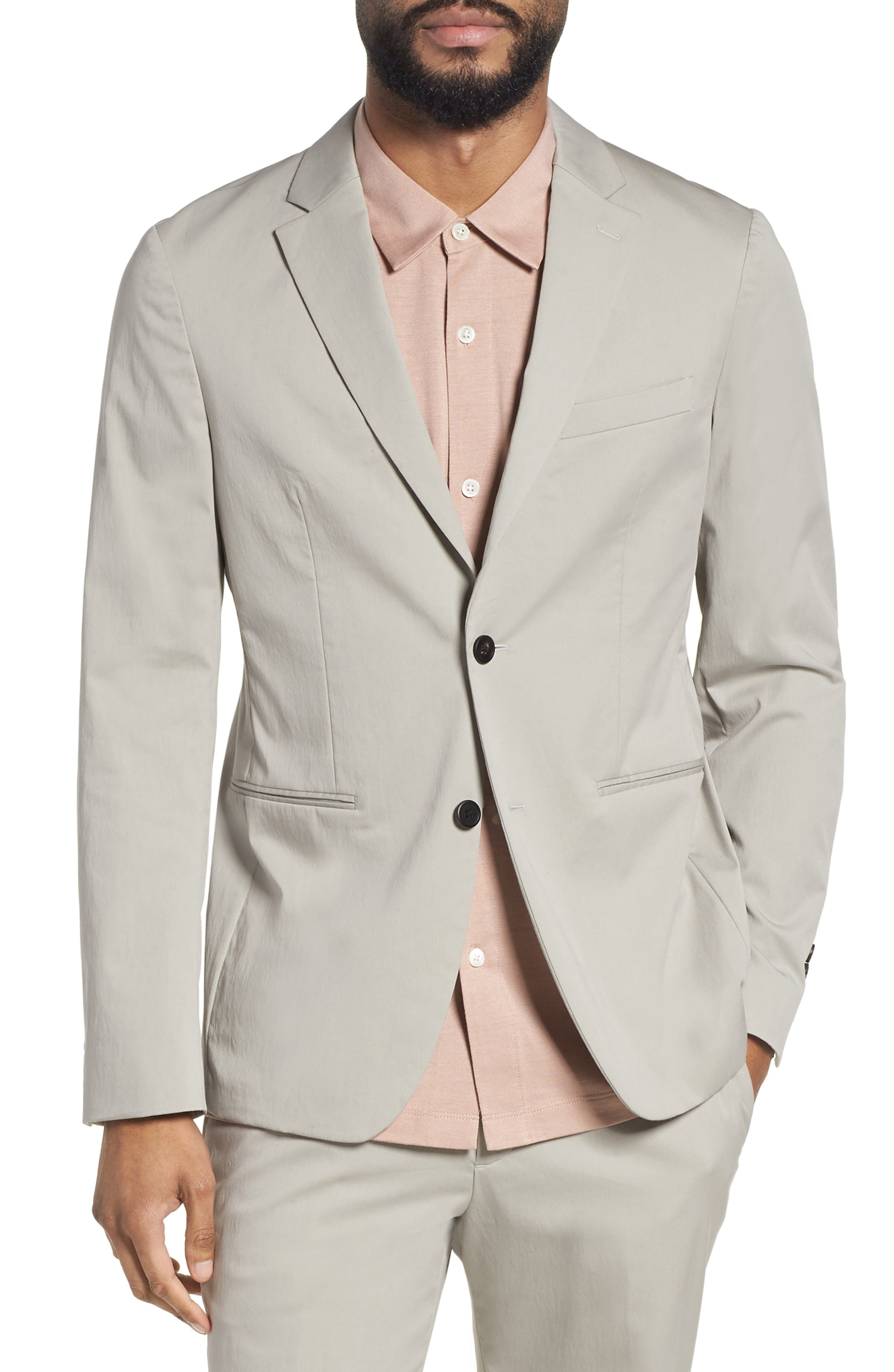 Newson Technical Slim Fit Stretch Blazer,                         Main,                         color, Ash