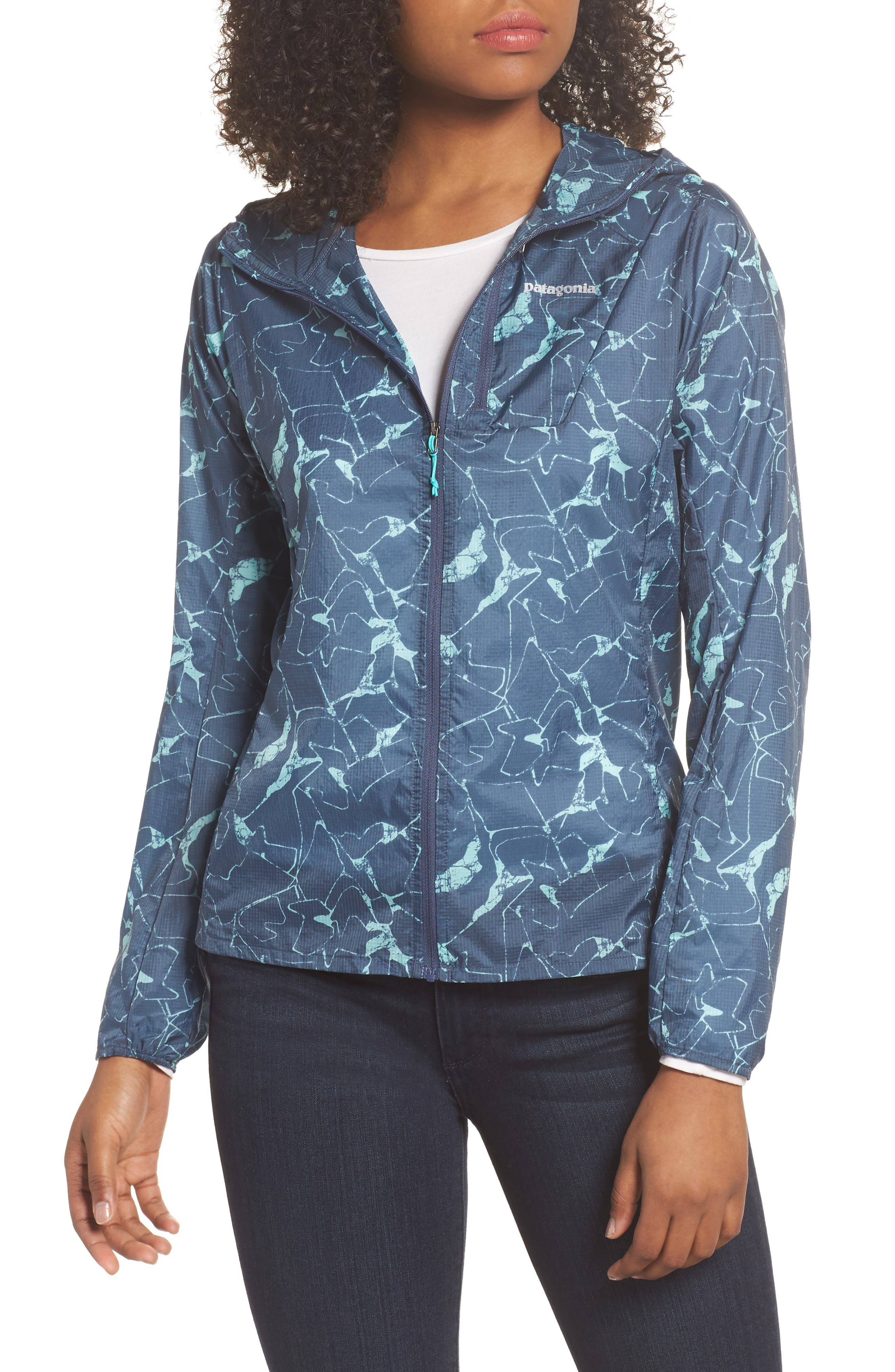 Houdini Water Repellent Jacket,                         Main,                         color, Rock Jigsaw/ Dolomite Blue