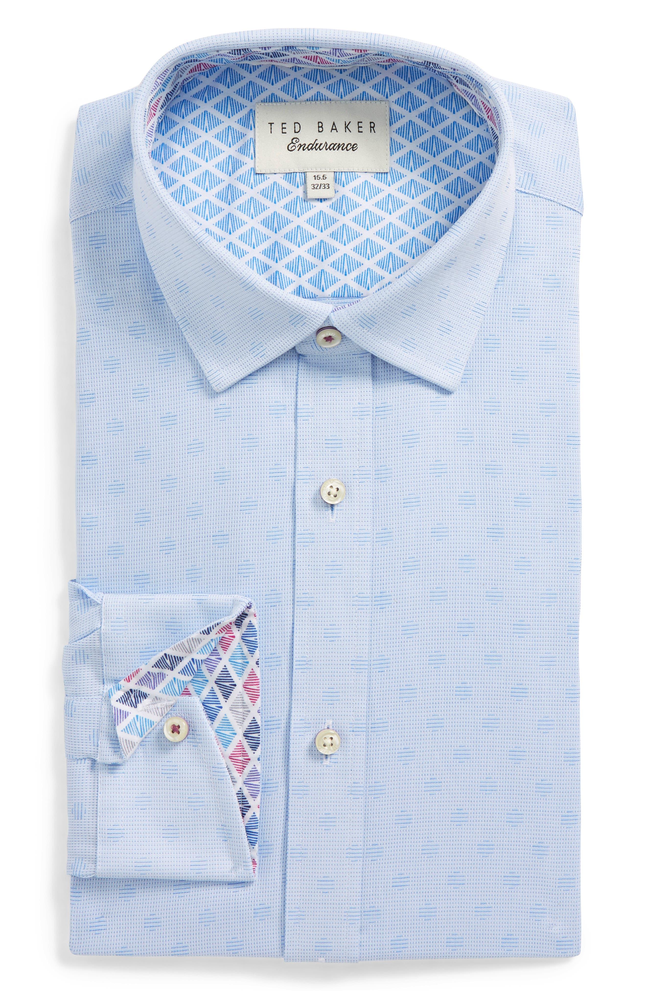 Racking Trim Fit Dot Dress Shirt,                             Main thumbnail 1, color,                             Blue