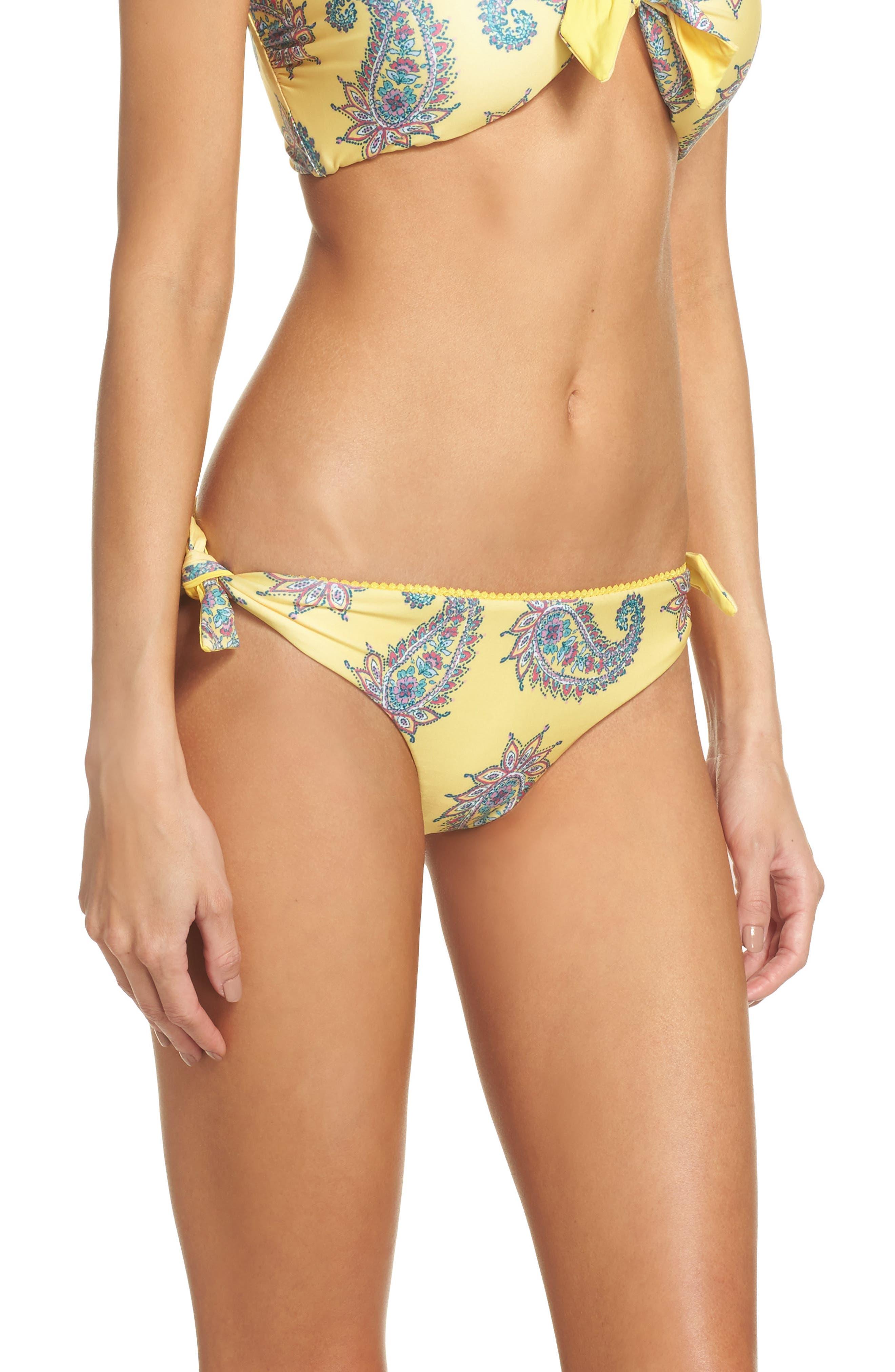 Little Havana Scarf Tie Bikini Bottoms,                             Alternate thumbnail 3, color,                             Yellow Multi