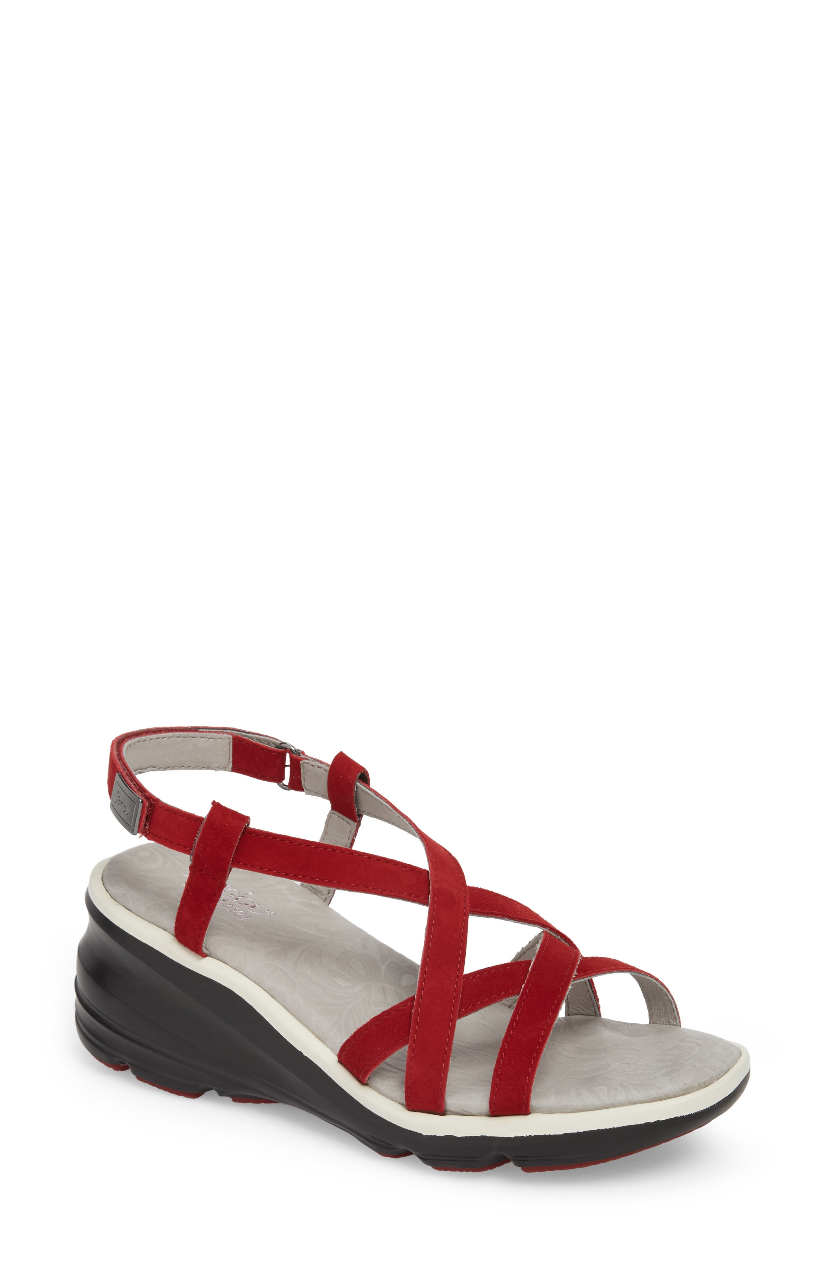 Ginger Wedge Sandal,                             Main thumbnail 1, color,                             Red Suede