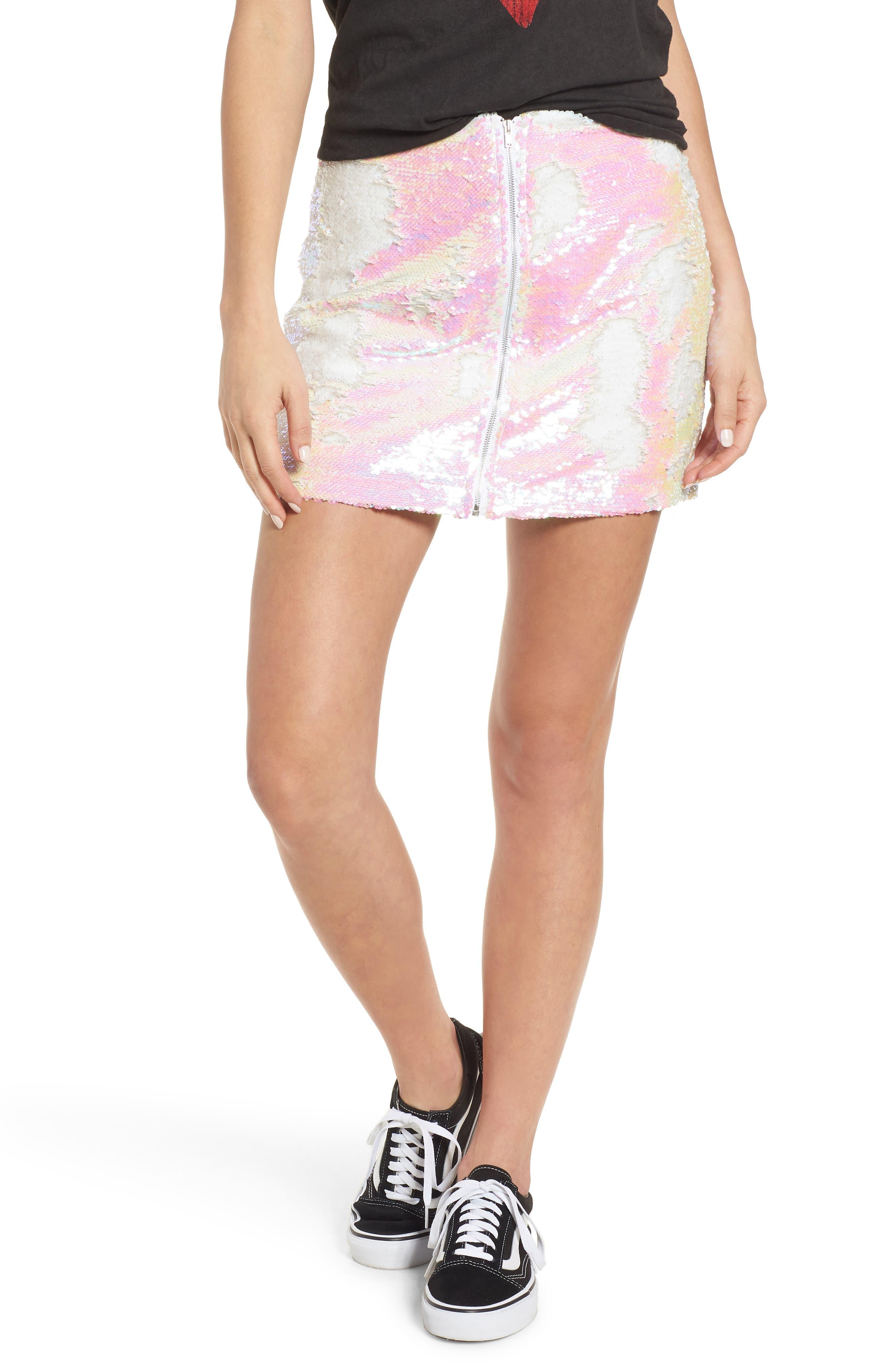 Kool Thing Sequin Skirt,                             Main thumbnail 1, color,                             Pink Multi