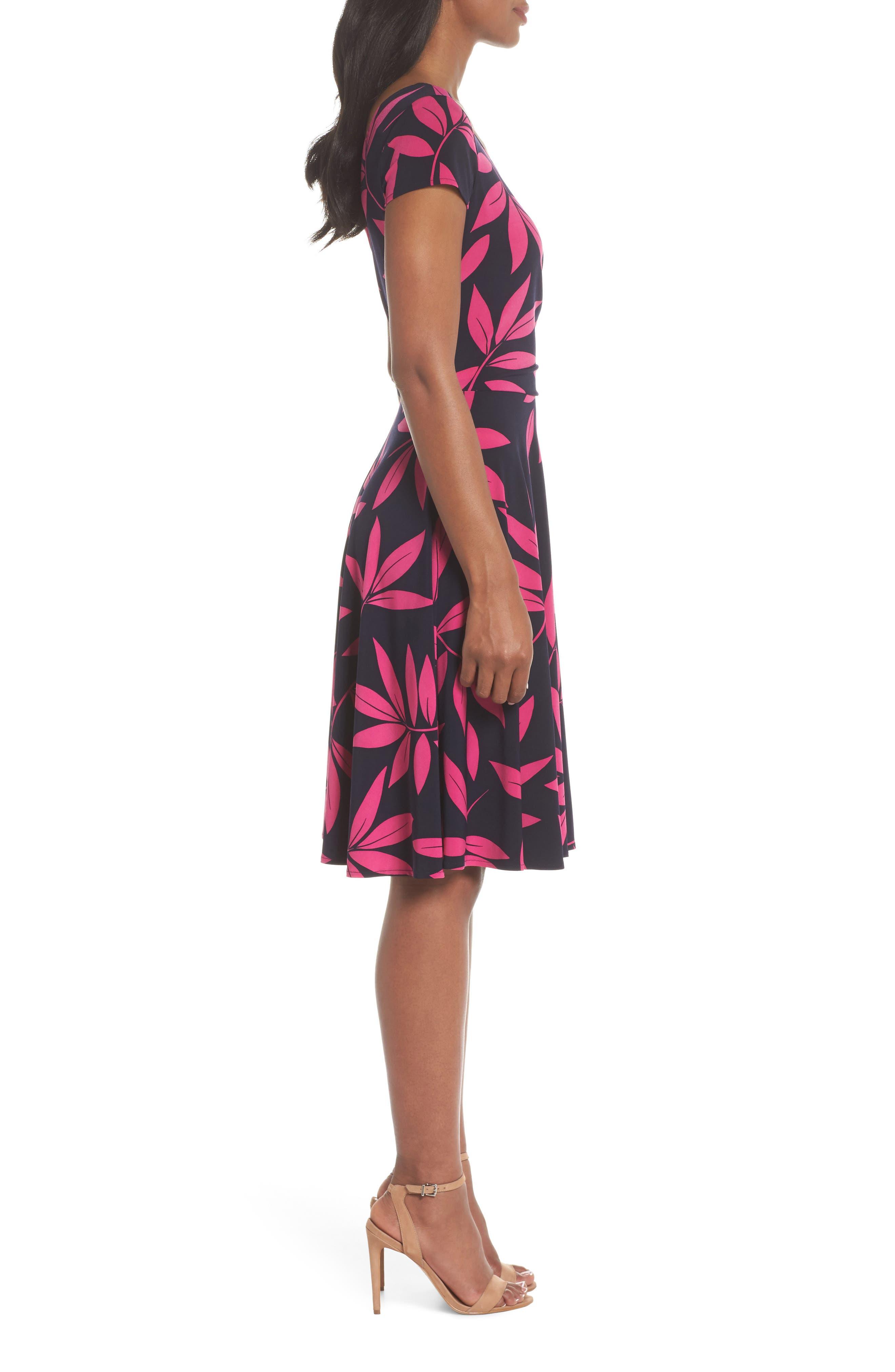 Leaf Print Faux Wrap Dress,                             Alternate thumbnail 3, color,                             Navy/ Pink Posie
