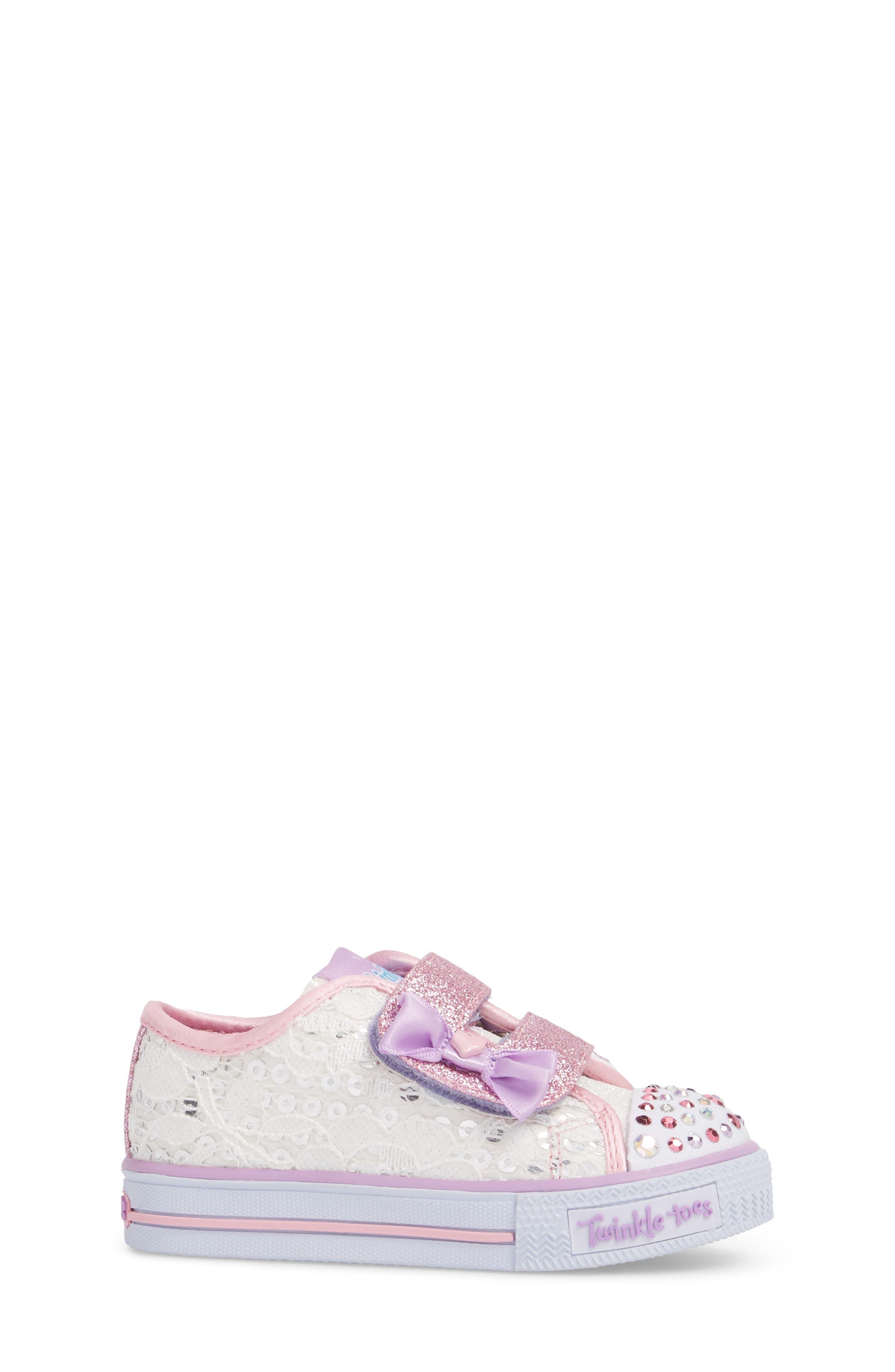 Twinkle Toes Shuffles Light-Up Glitter Sneaker,                             Alternate thumbnail 3, color,                             White/ Silver/ Light Pink