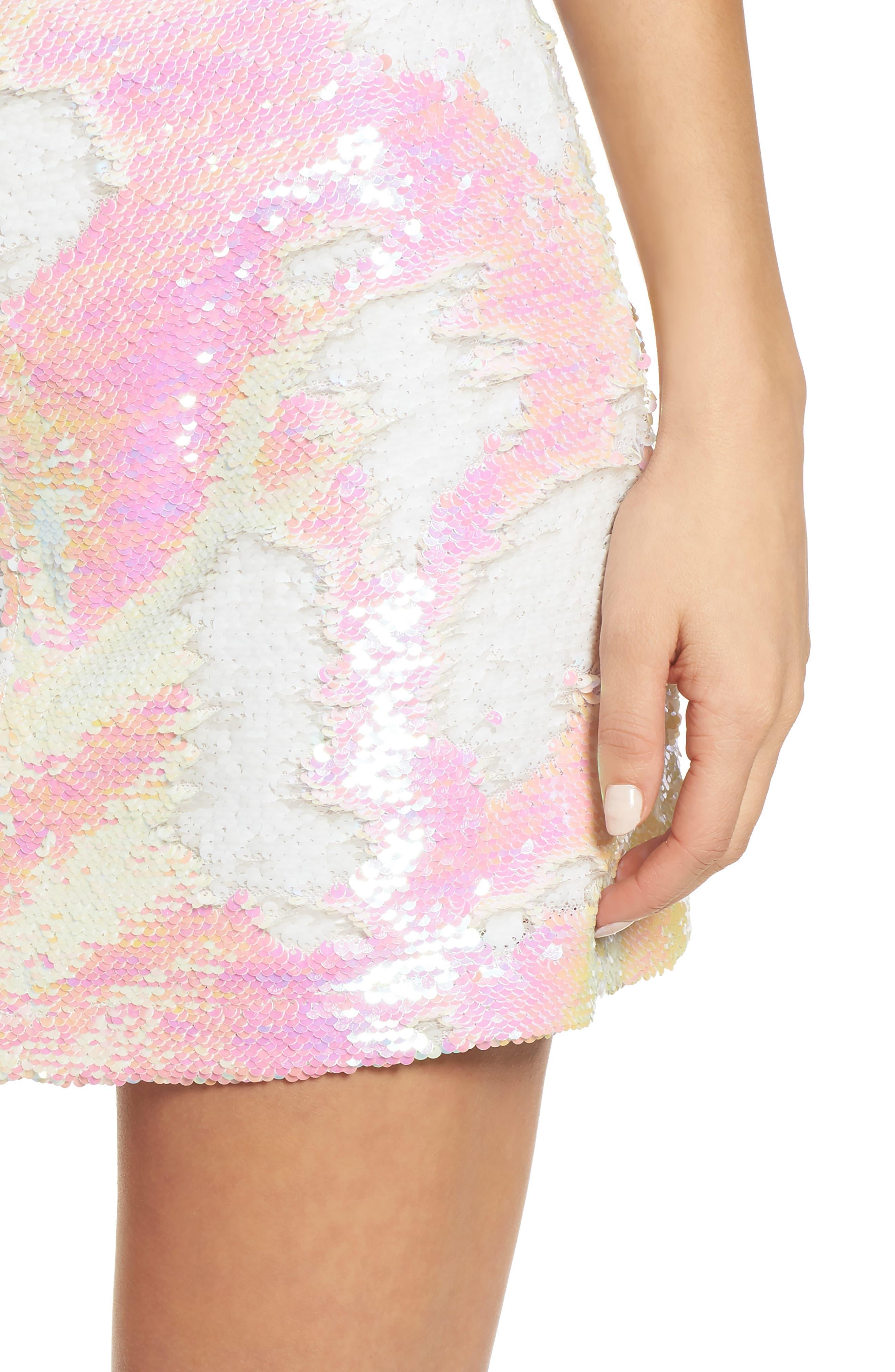 Kool Thing Sequin Skirt,                             Alternate thumbnail 4, color,                             Pink Multi