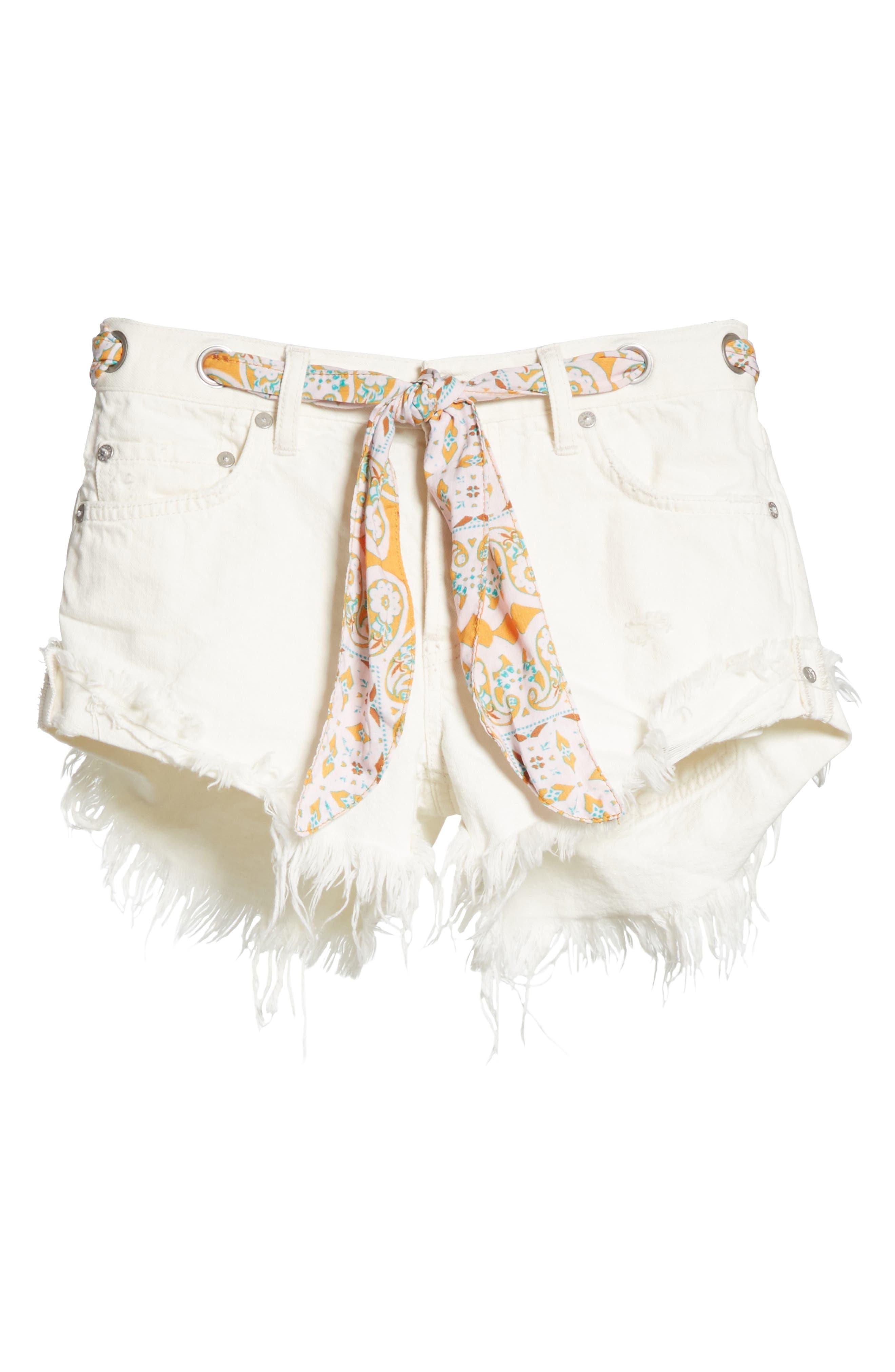 Cutoff Denim Shorts,                             Alternate thumbnail 7, color,                             White