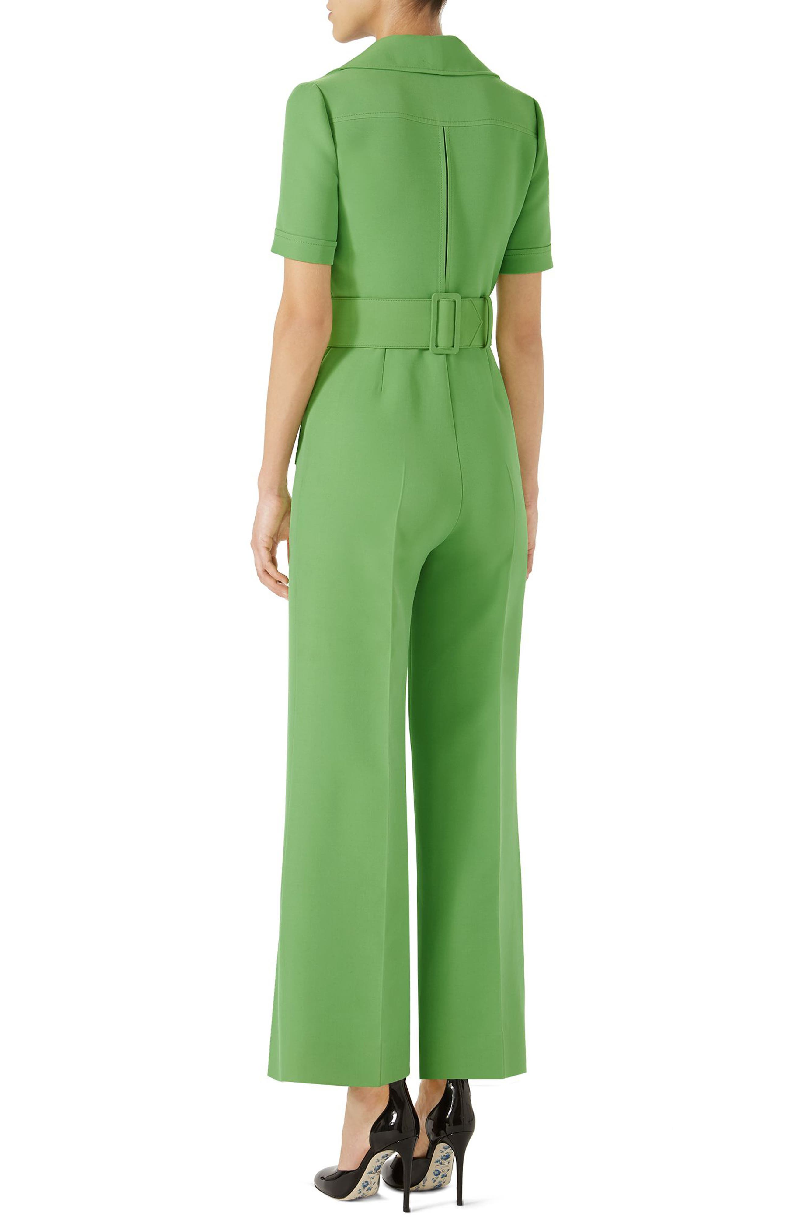 Belted Wide Leg Wool & Silk Cady Jumpsuit,                             Alternate thumbnail 2, color,                             Fresh Mint