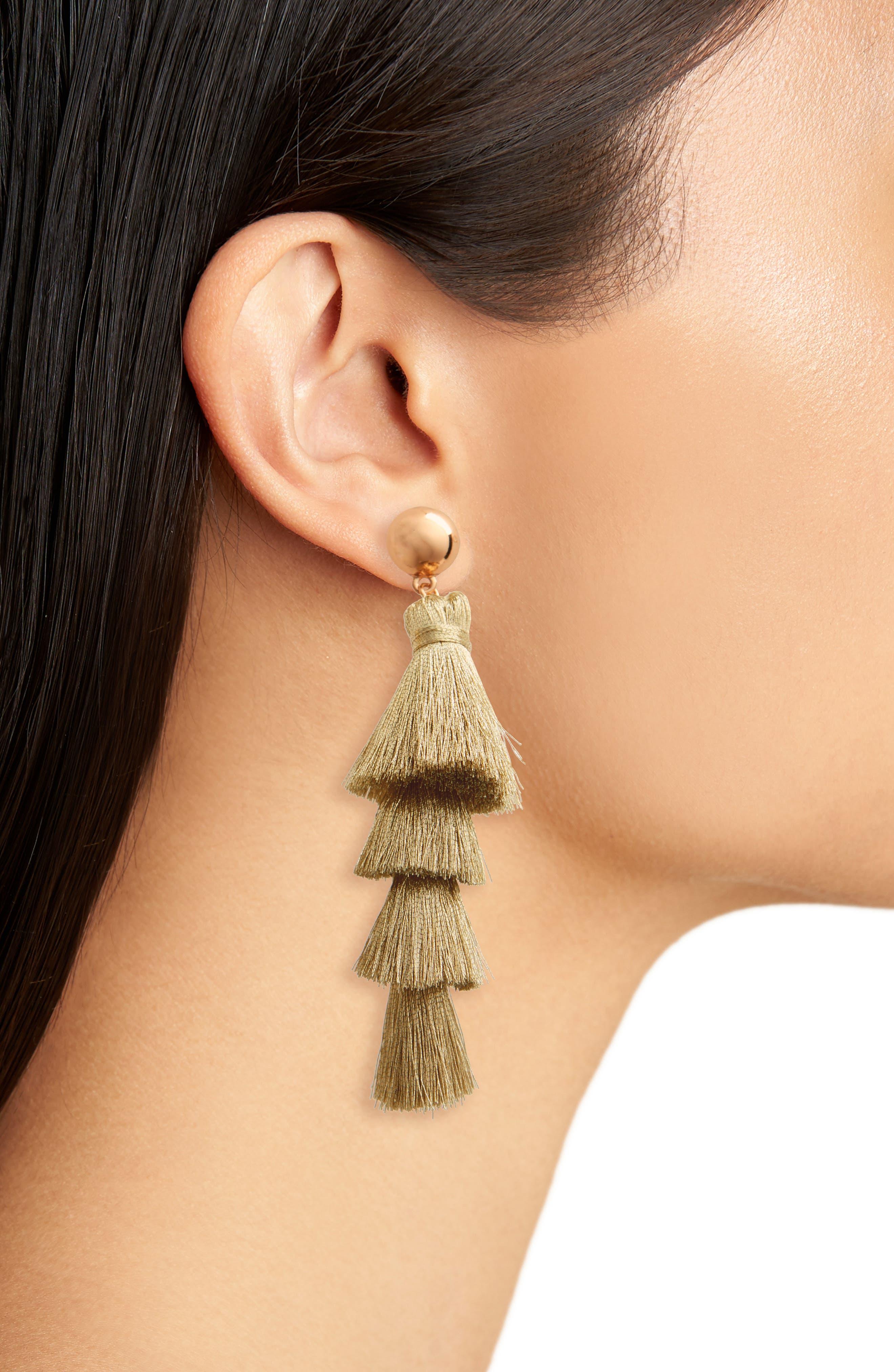 Gabriela Fringe Tassel Earrings,                             Alternate thumbnail 3, color,                             Gold