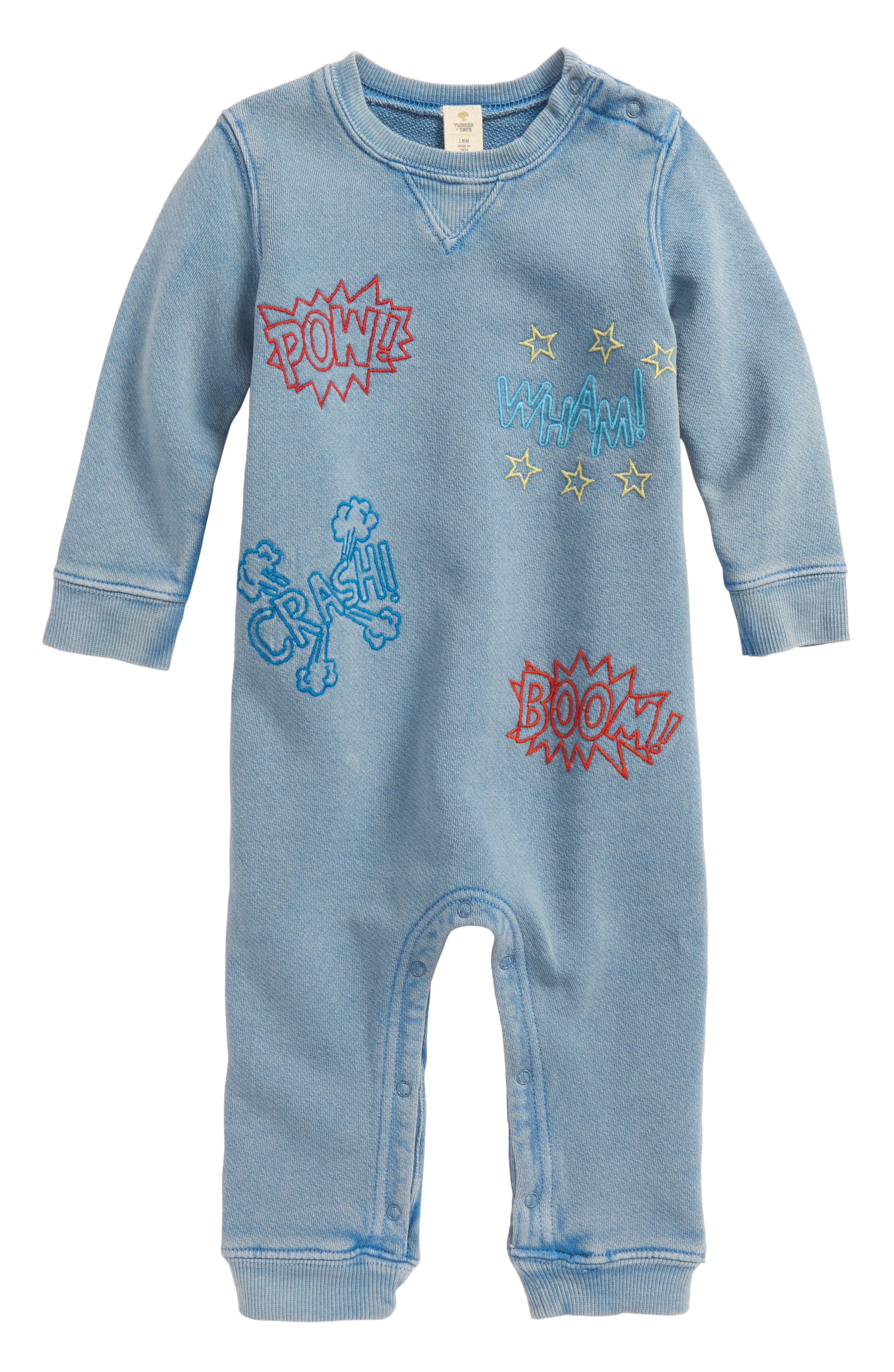 Embroidered Romper,                             Main thumbnail 1, color,                             Blue Dusk