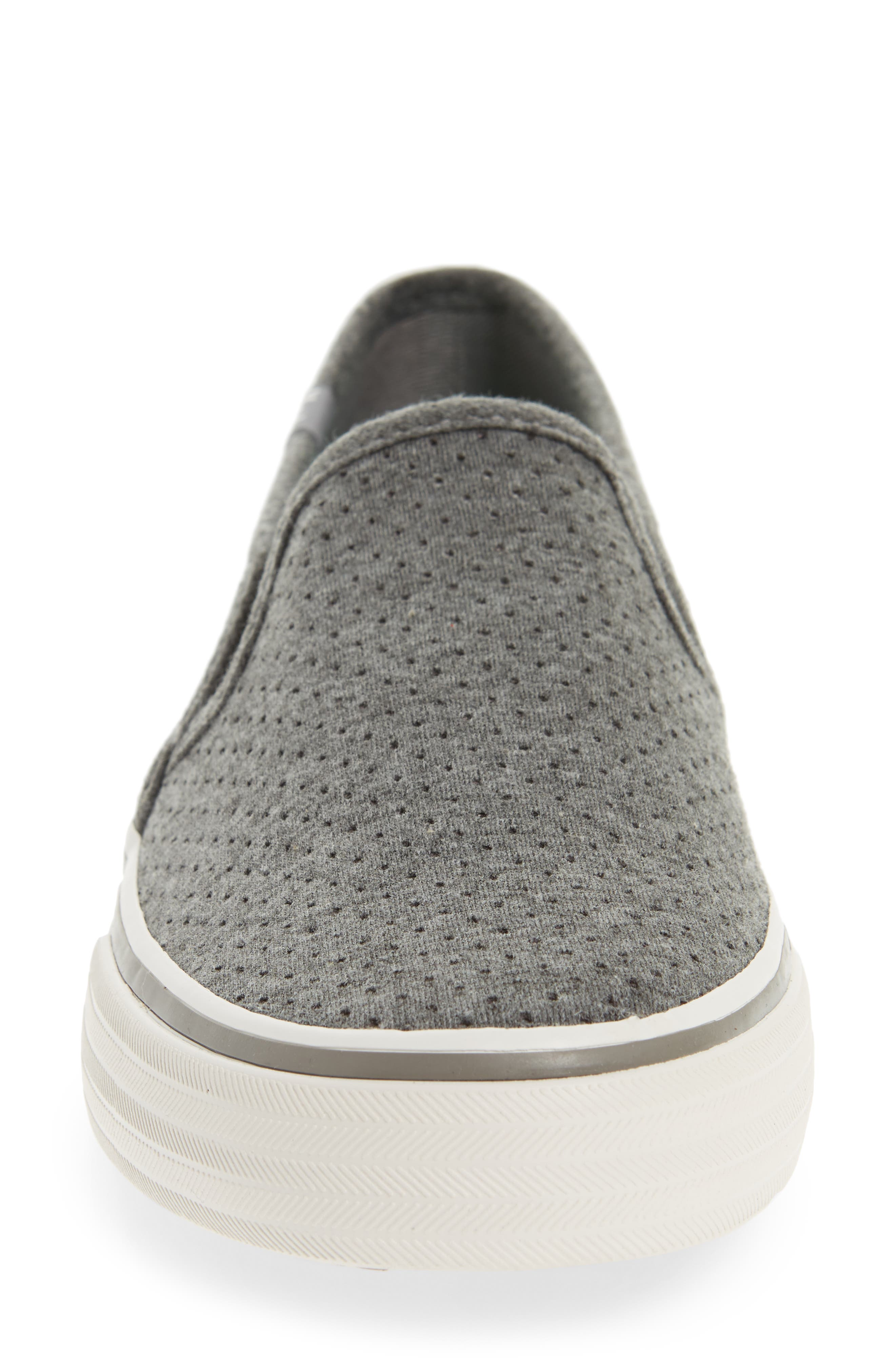 Double Decker Perforated Slip-On Sneaker,                             Alternate thumbnail 4, color,                             Charcoal