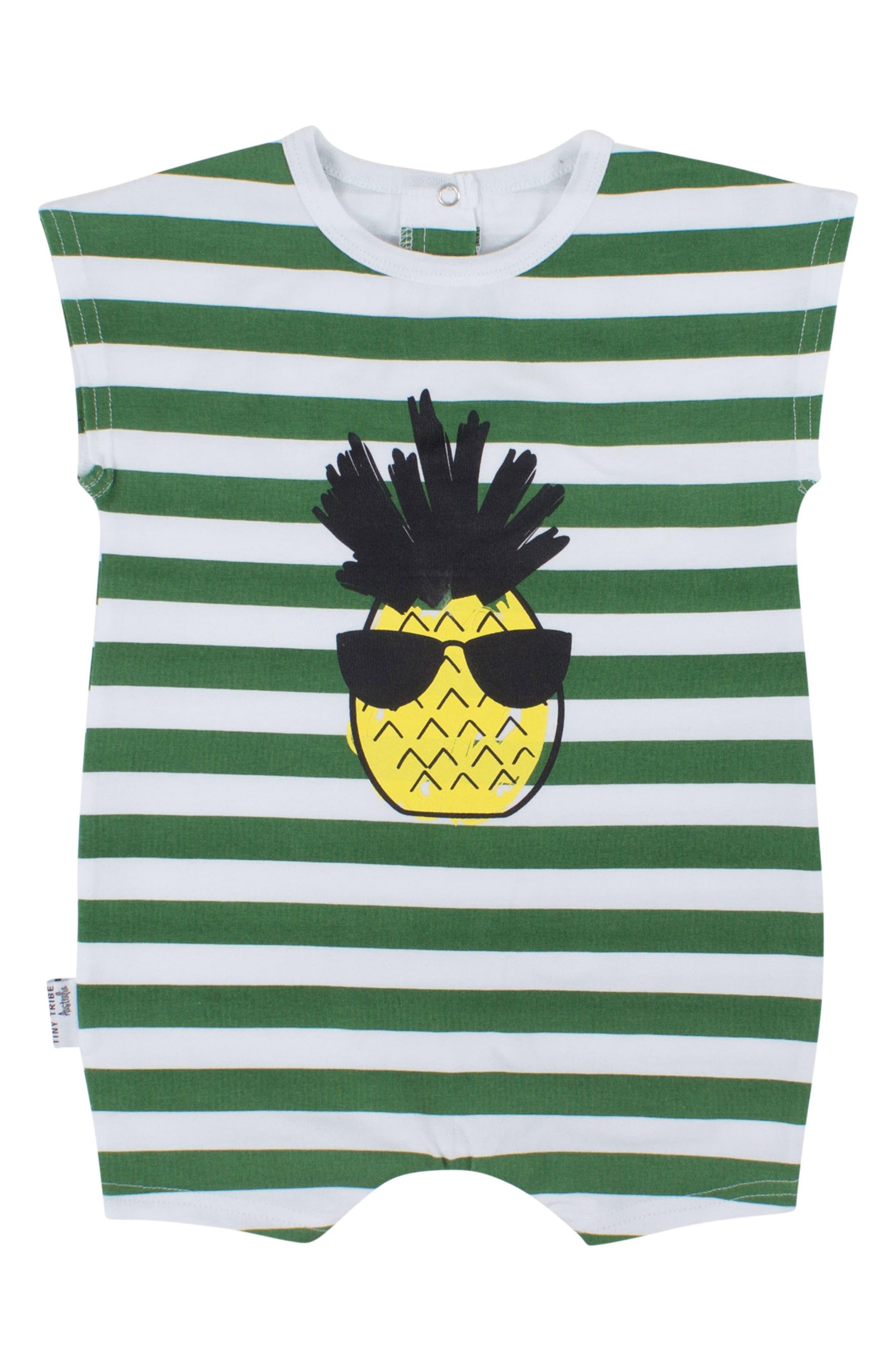 Cool Pineapple Stripe Romper,                             Main thumbnail 1, color,                             Multi