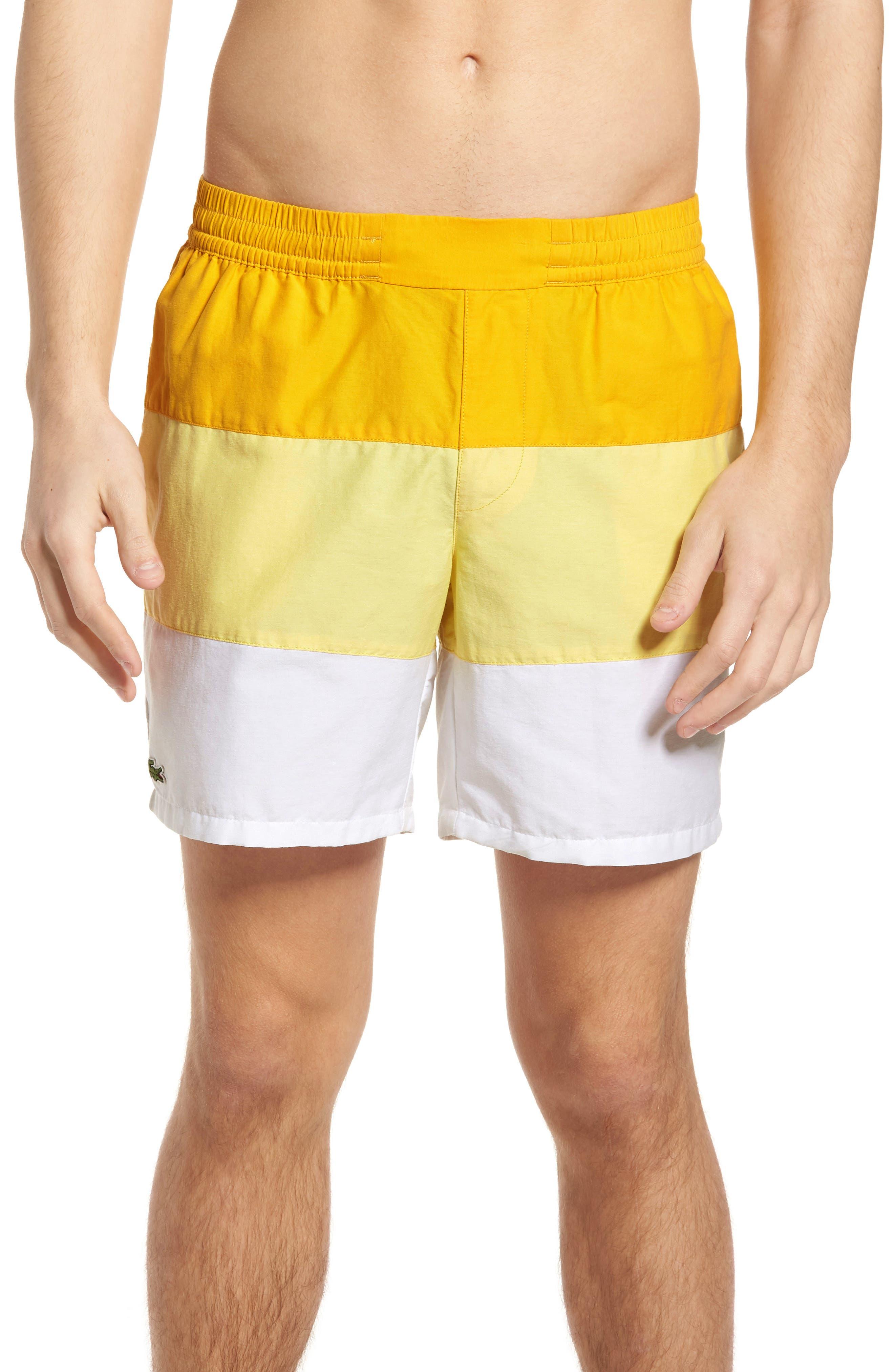 Colorblock Swim Trunks,                         Main,                         color, Solstice Yellow/ Yellow-White