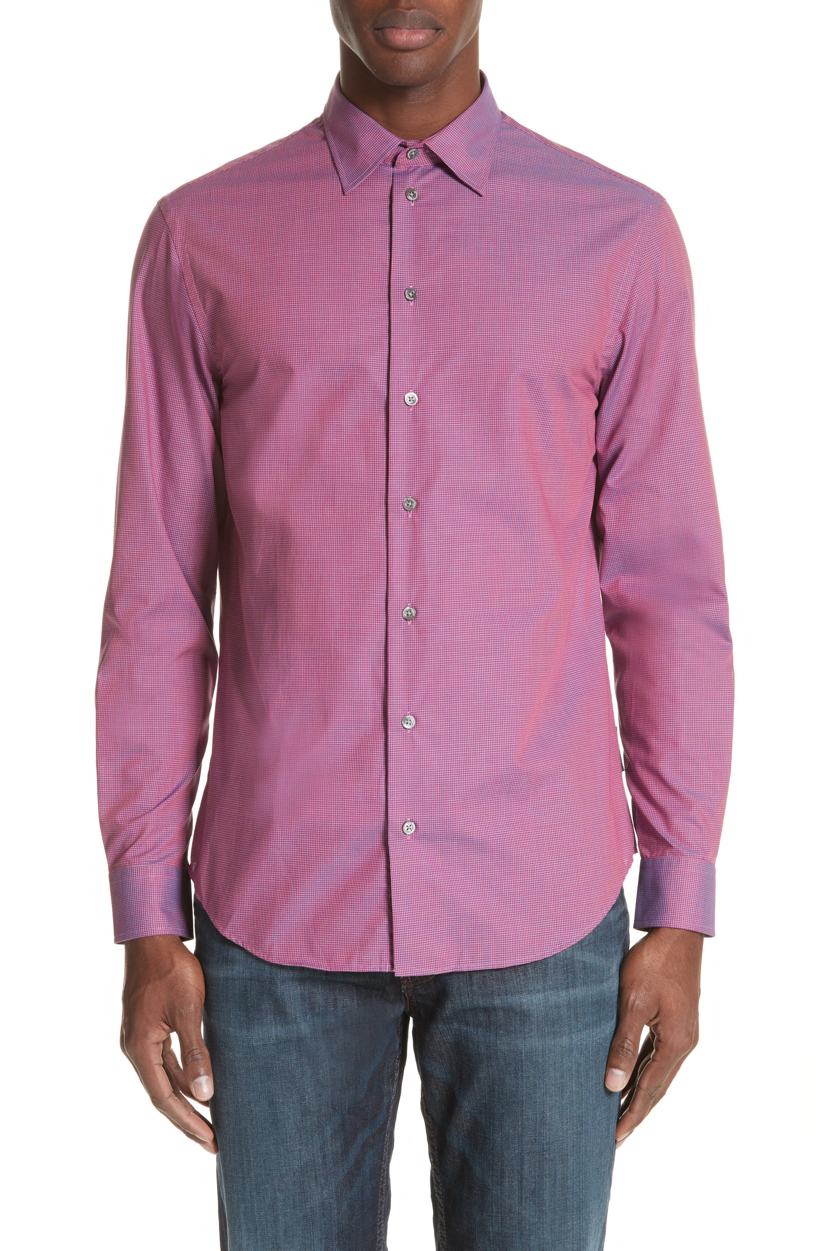 Microcheck Classic Fit Sport Shirt,                         Main,                         color, Checked Red