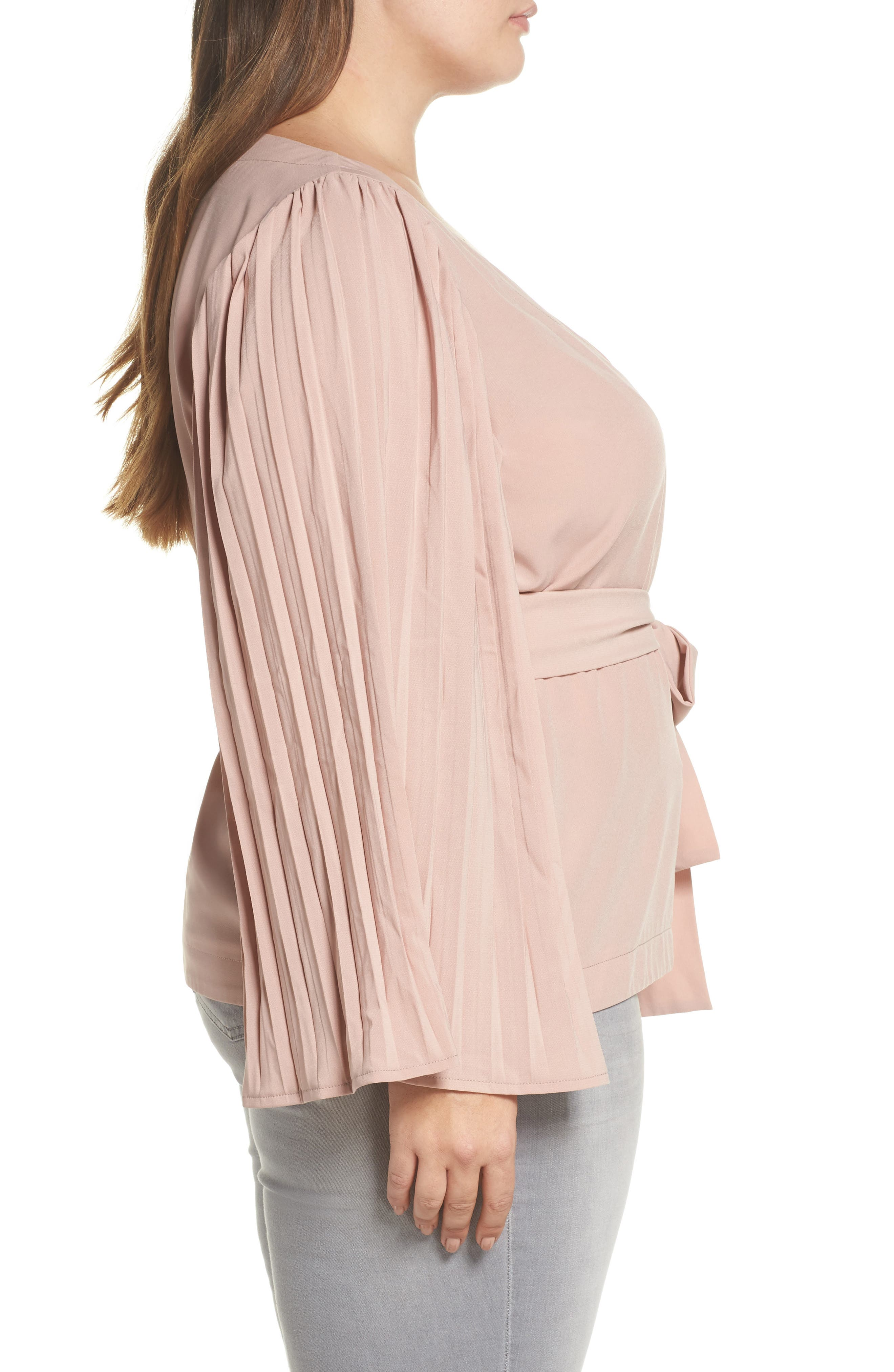 The Luster Pleat Sleeve Wrap Top,                             Alternate thumbnail 3, color,                             Pink