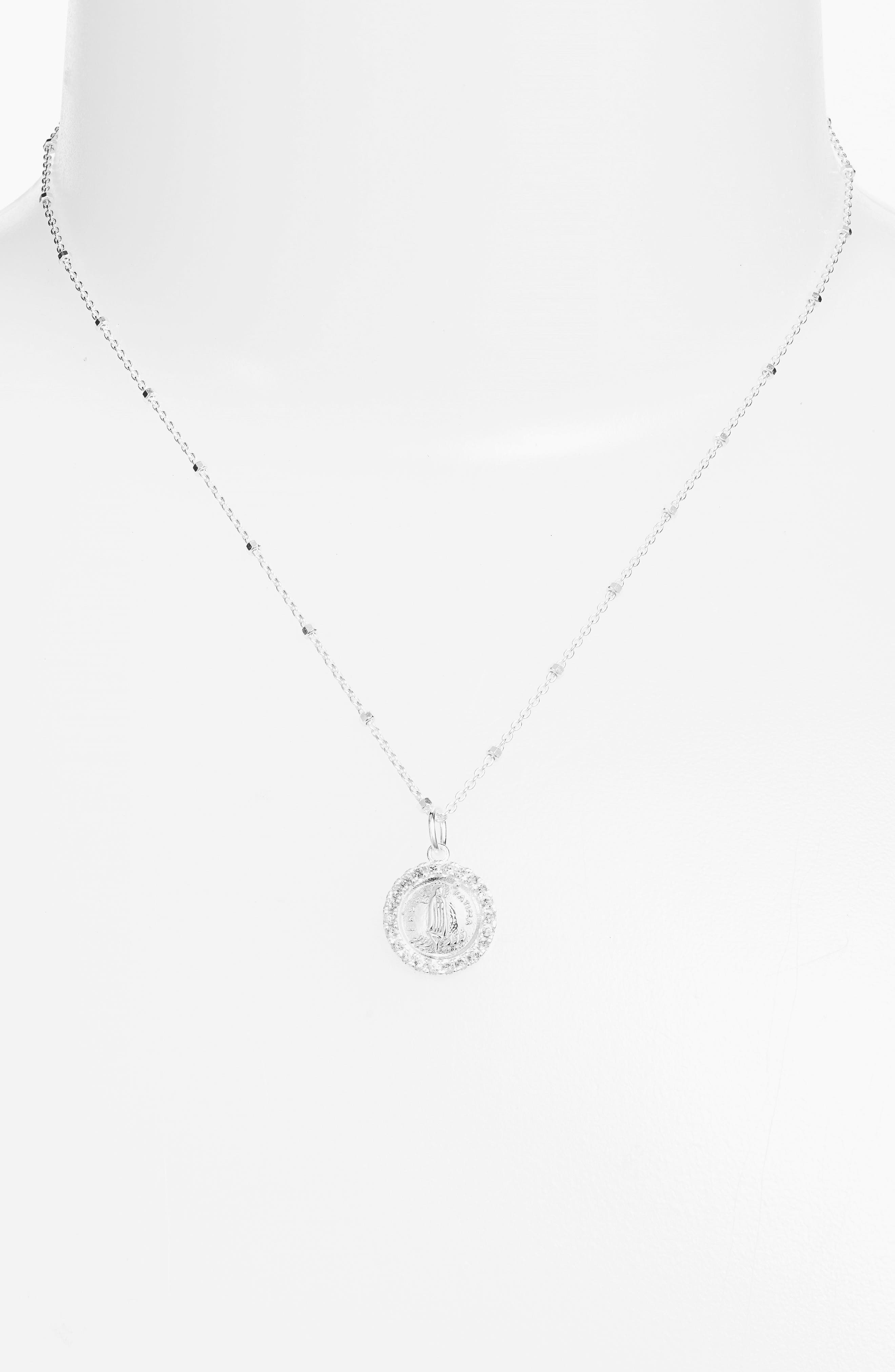 Pavé Framed Mother Mary Pendant Necklace,                             Alternate thumbnail 2, color,                             Silver