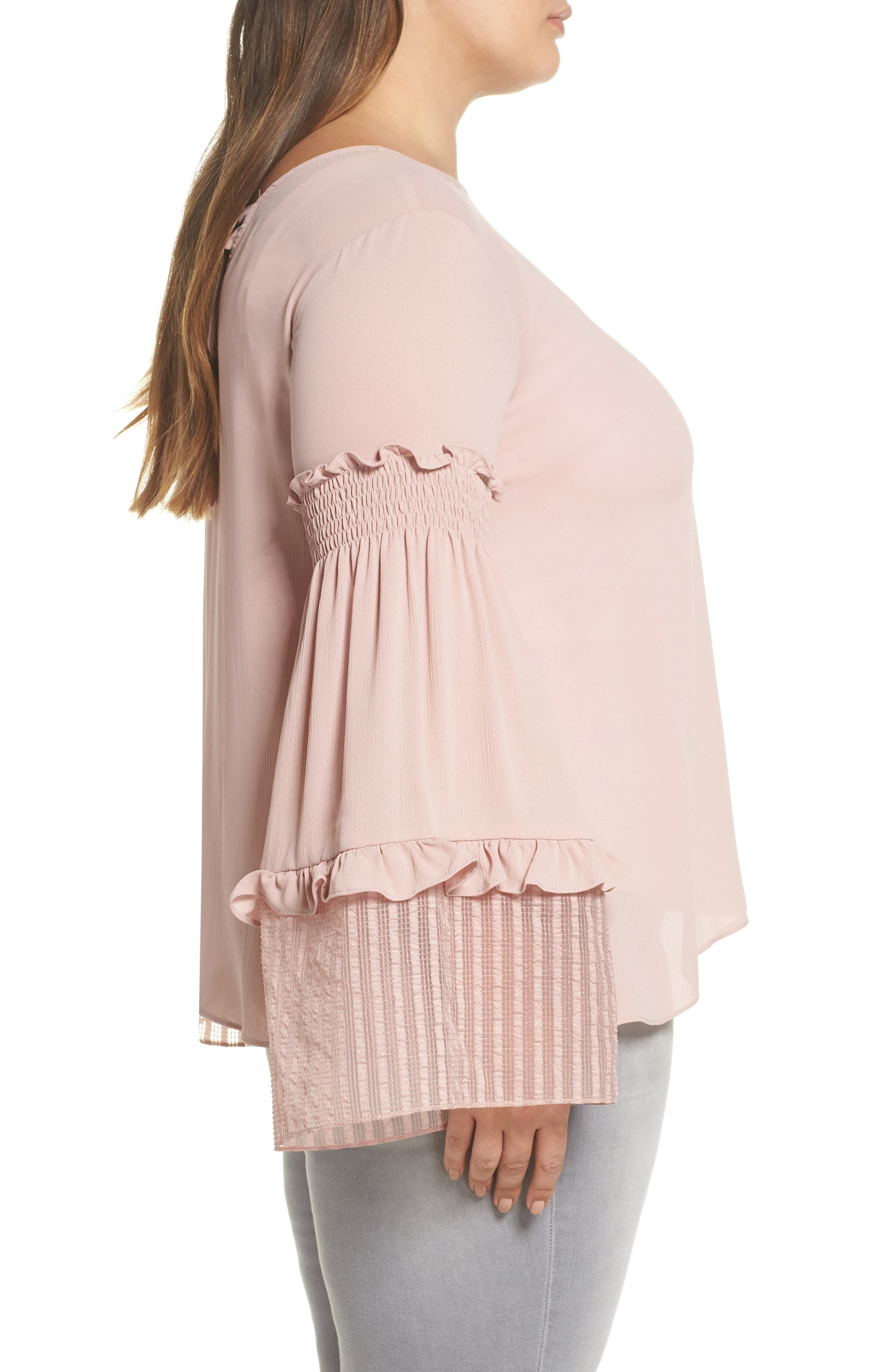 Shirred Sleeve Top,                             Alternate thumbnail 3, color,                             Blush