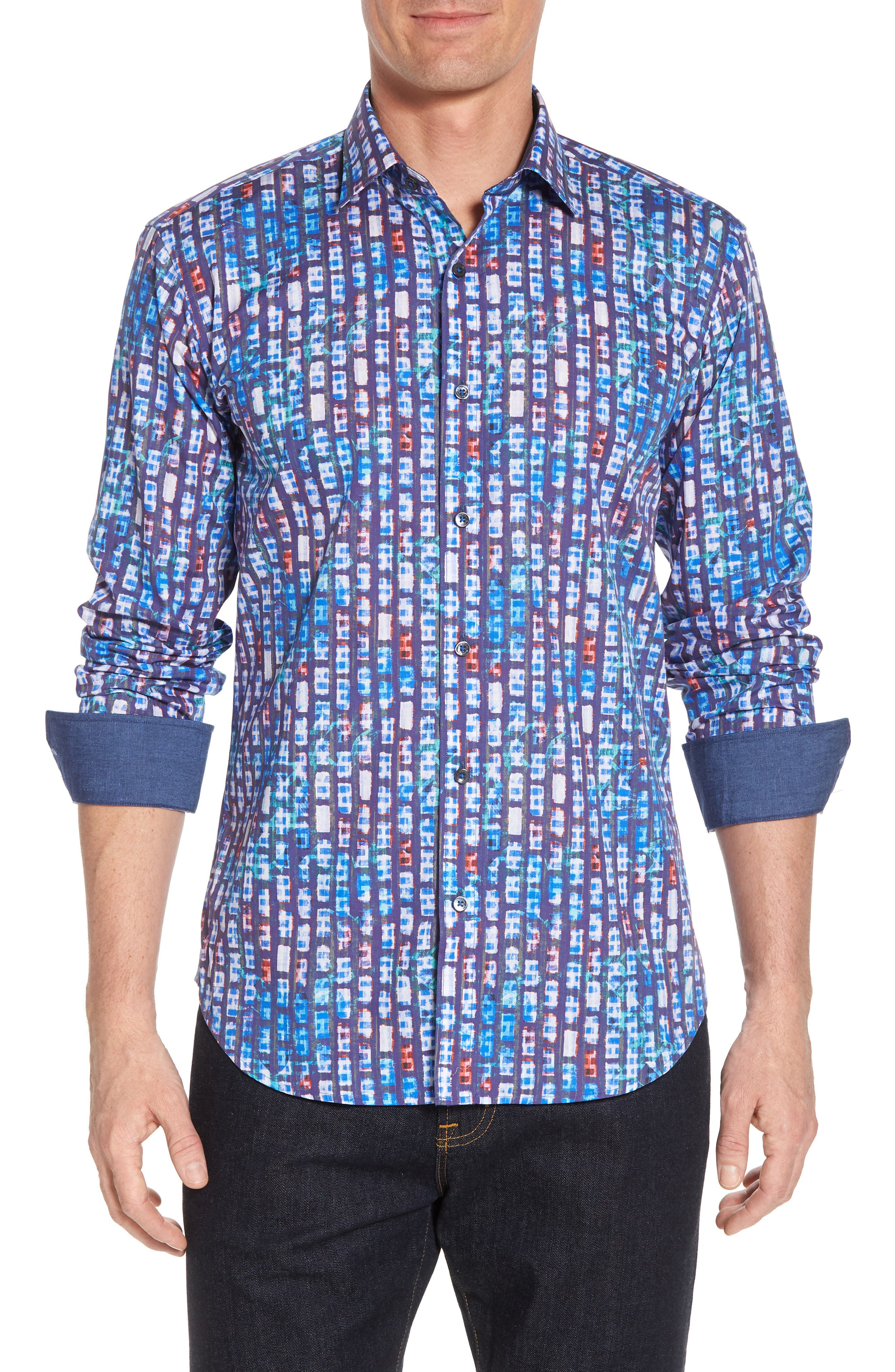 Shaped Fit Urban Abstract Sport Shirt,                             Main thumbnail 1, color,                             Periwinkle
