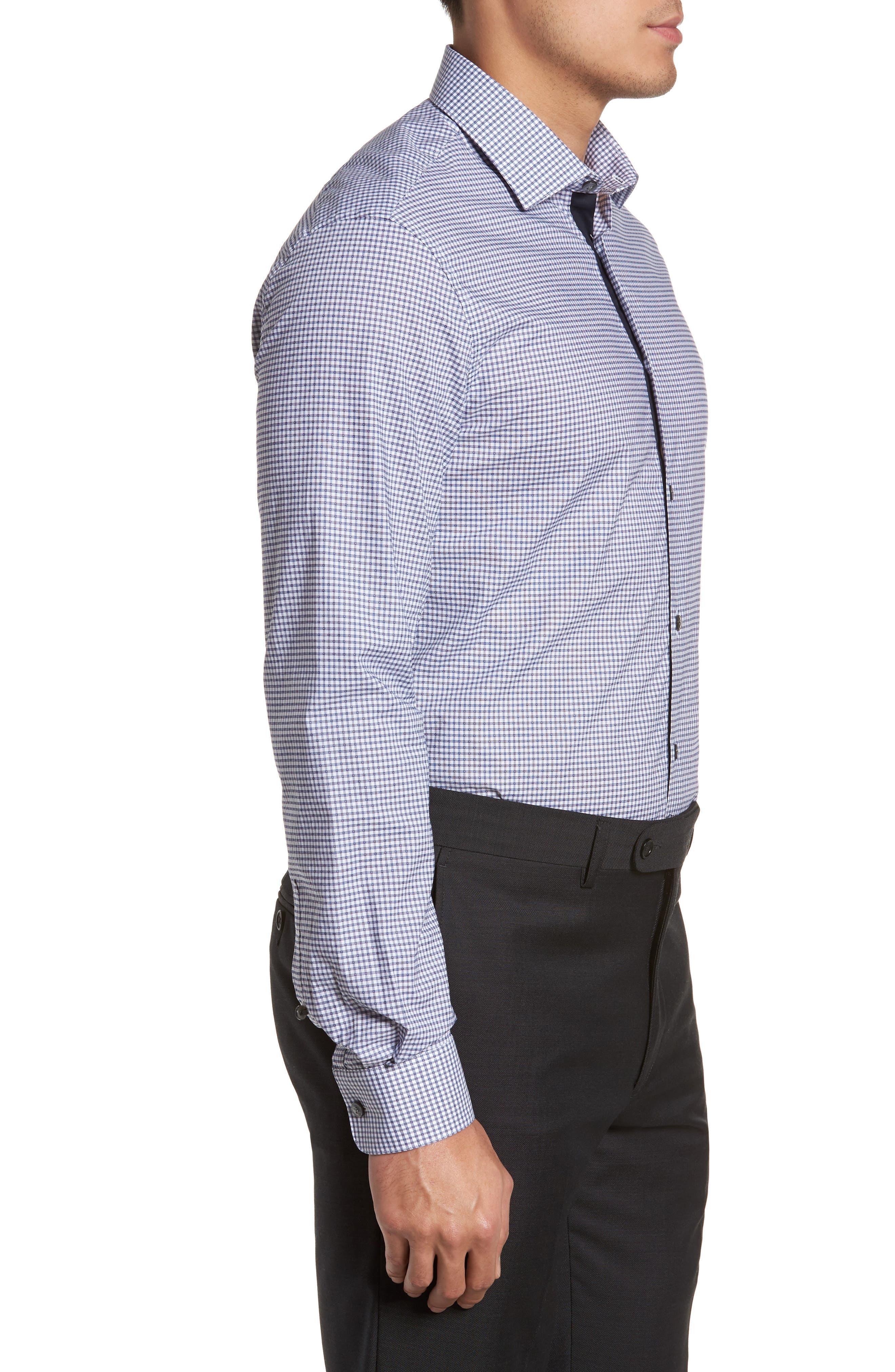 Slim Fit Stretch Check Dress Shirt,                             Alternate thumbnail 4, color,                             Indigo