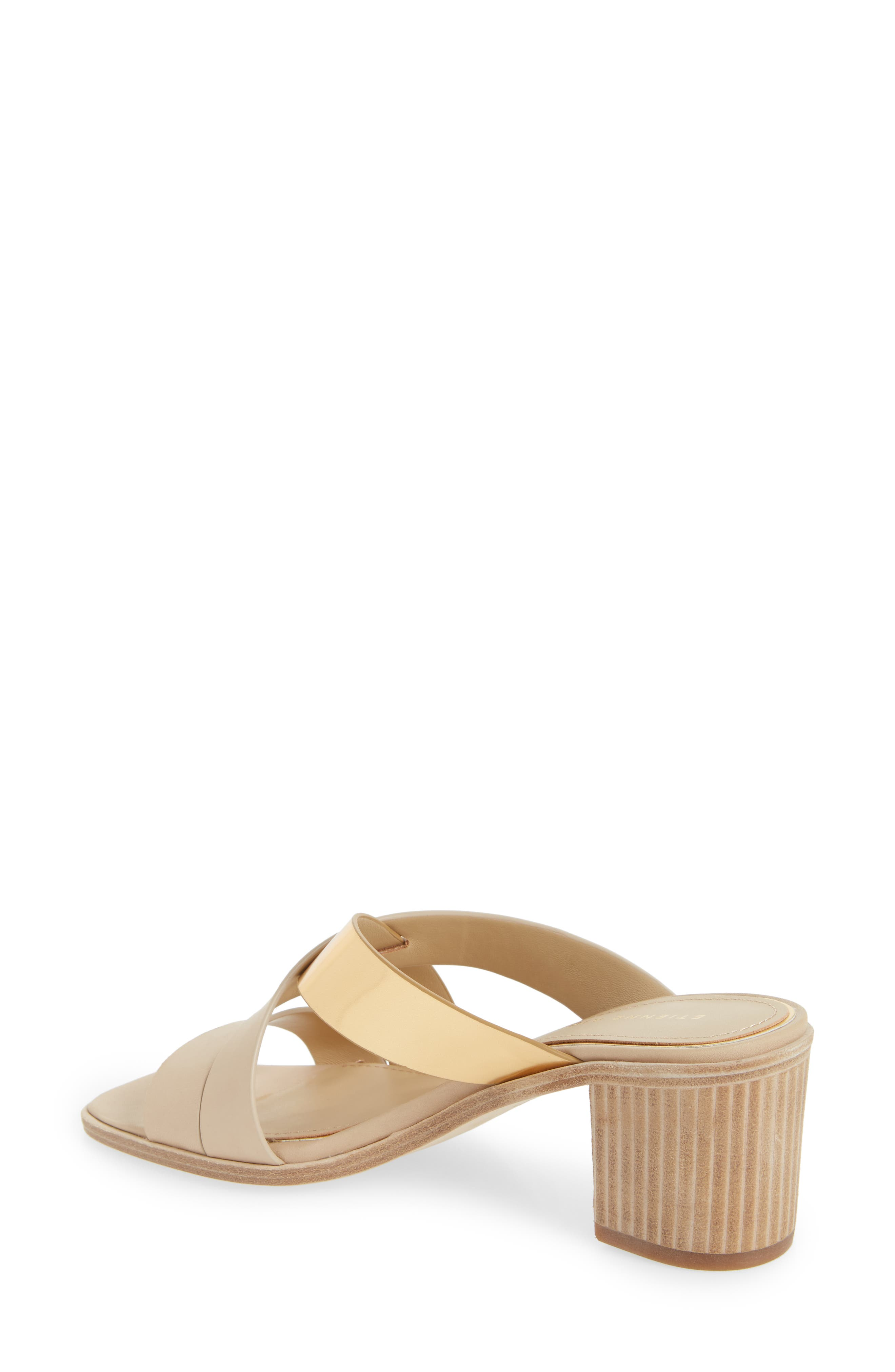 Negroni Cross Strap Mule Sandal,                             Alternate thumbnail 2, color,                             Natural/ Gold Leather