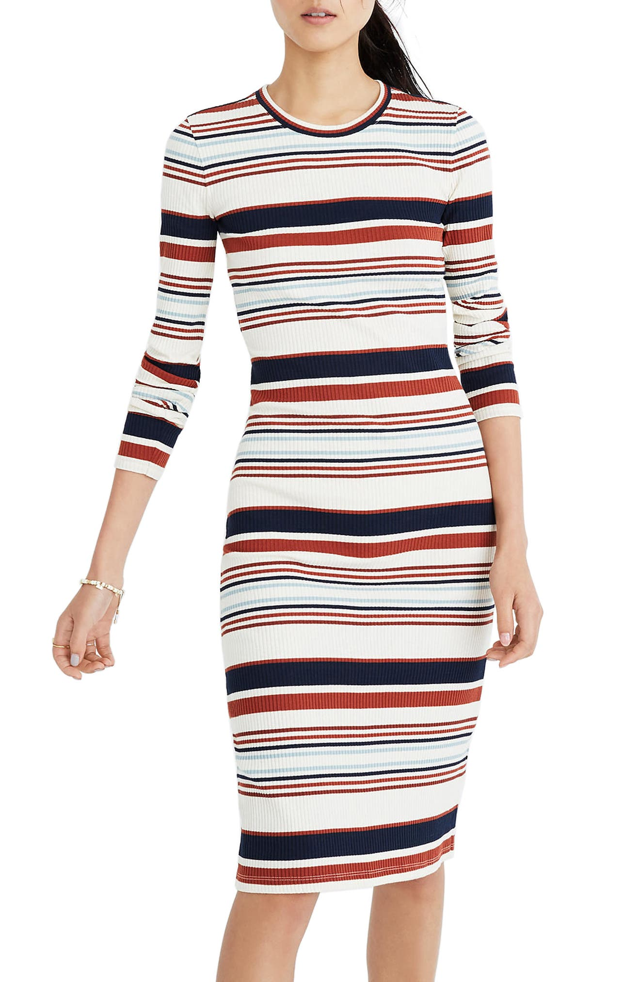 Multistripe Ribbed Long Sleeve Midi Dress,                         Main,                         color, Antique Cream