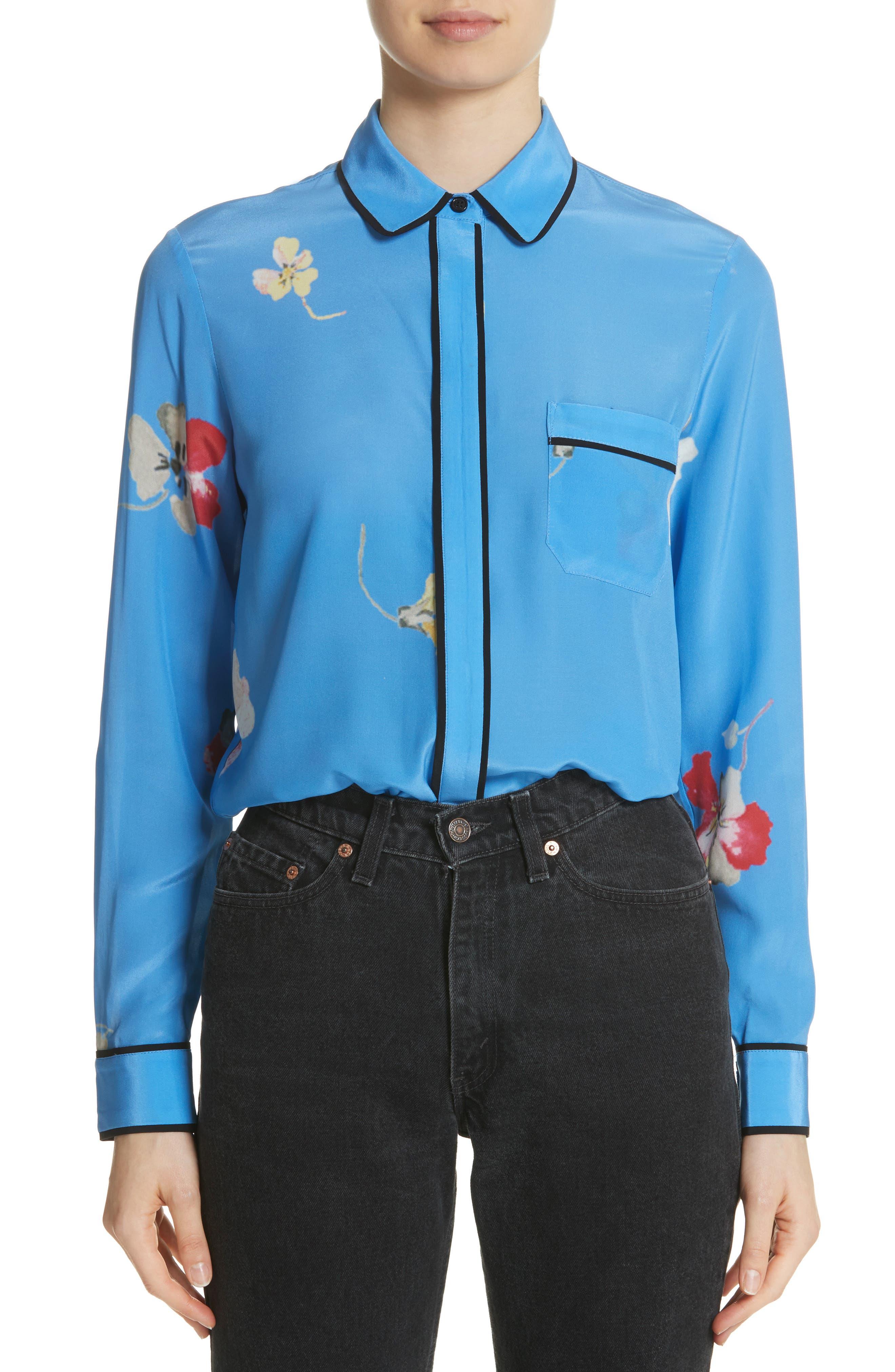 Joycedale Floral Silk Shirt,                             Main thumbnail 1, color,                             Marina