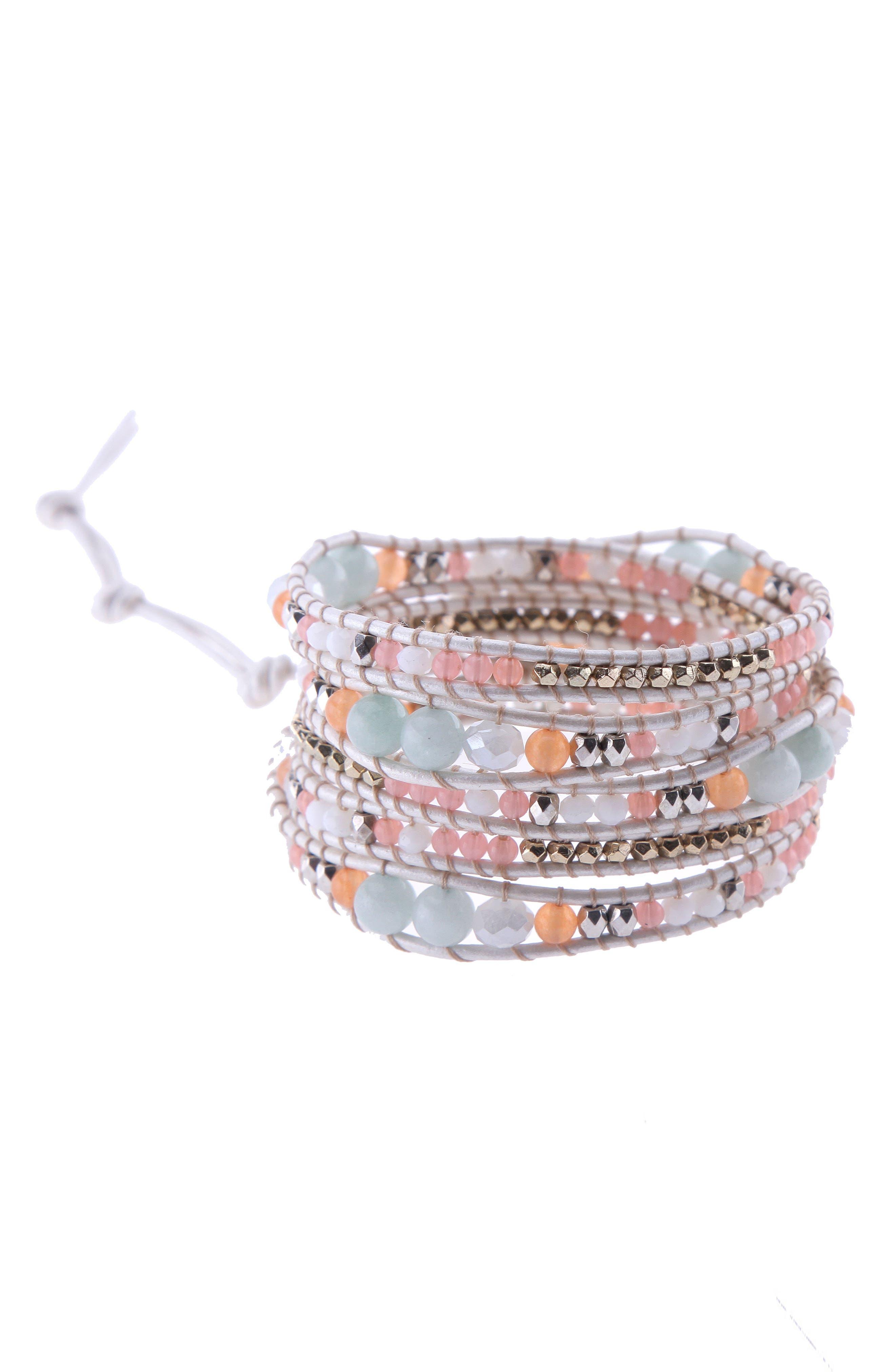 Beaded Agate Wrap Bracelet,                             Main thumbnail 1, color,                             Peach