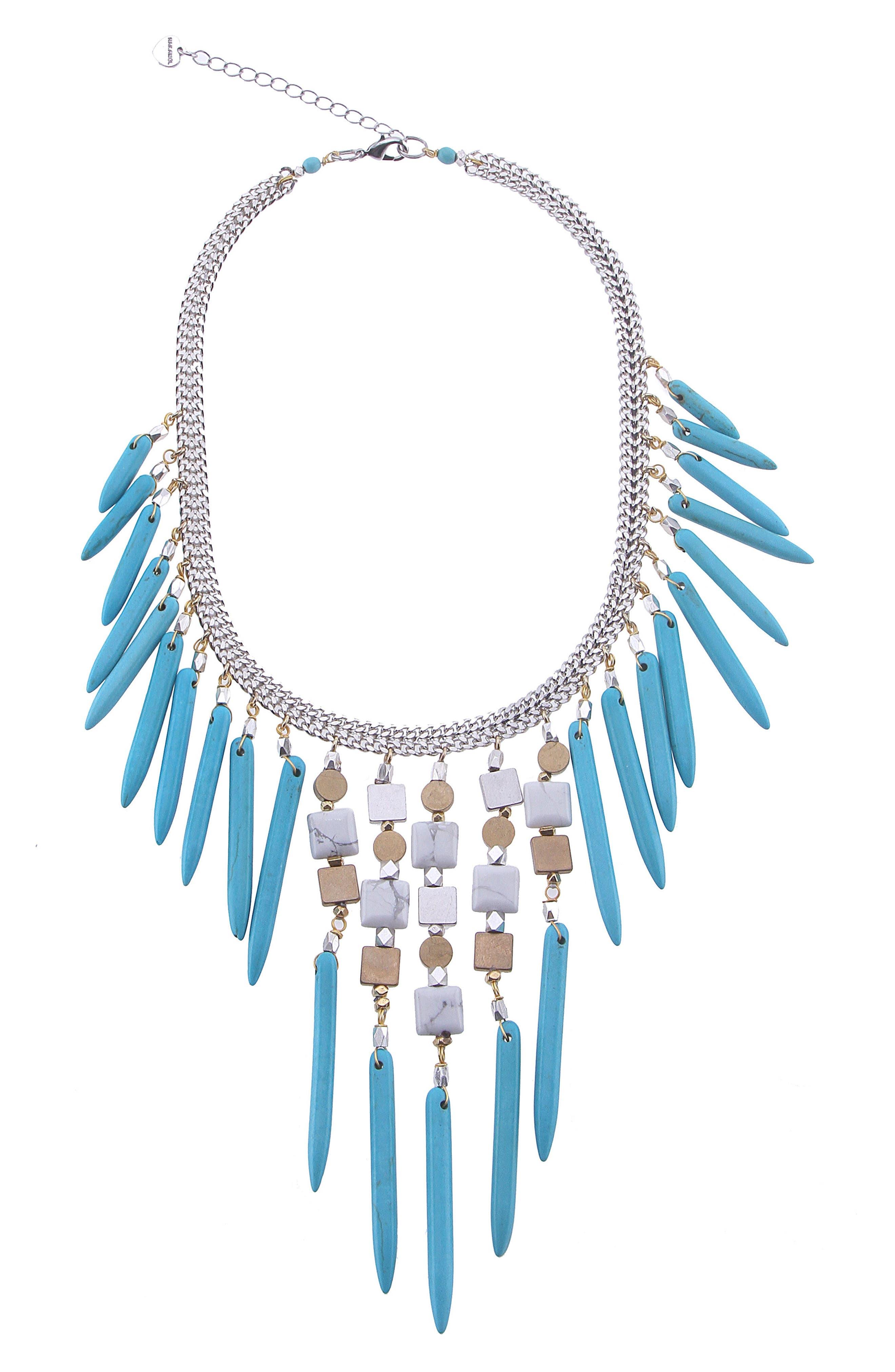 Fringe Magnesite & Howlite Collar Necklace,                             Main thumbnail 1, color,                             Turquoise