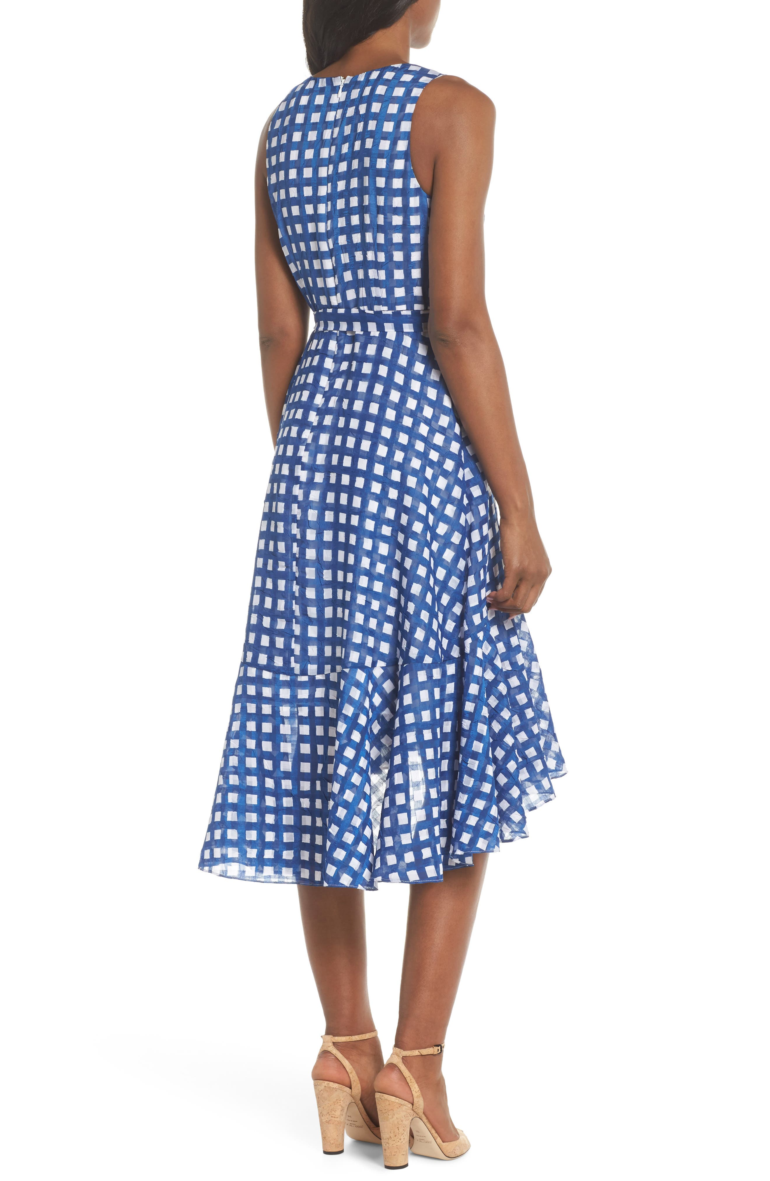 Ruffle High/Low Dress,                             Alternate thumbnail 2, color,                             Ivory/ Blue