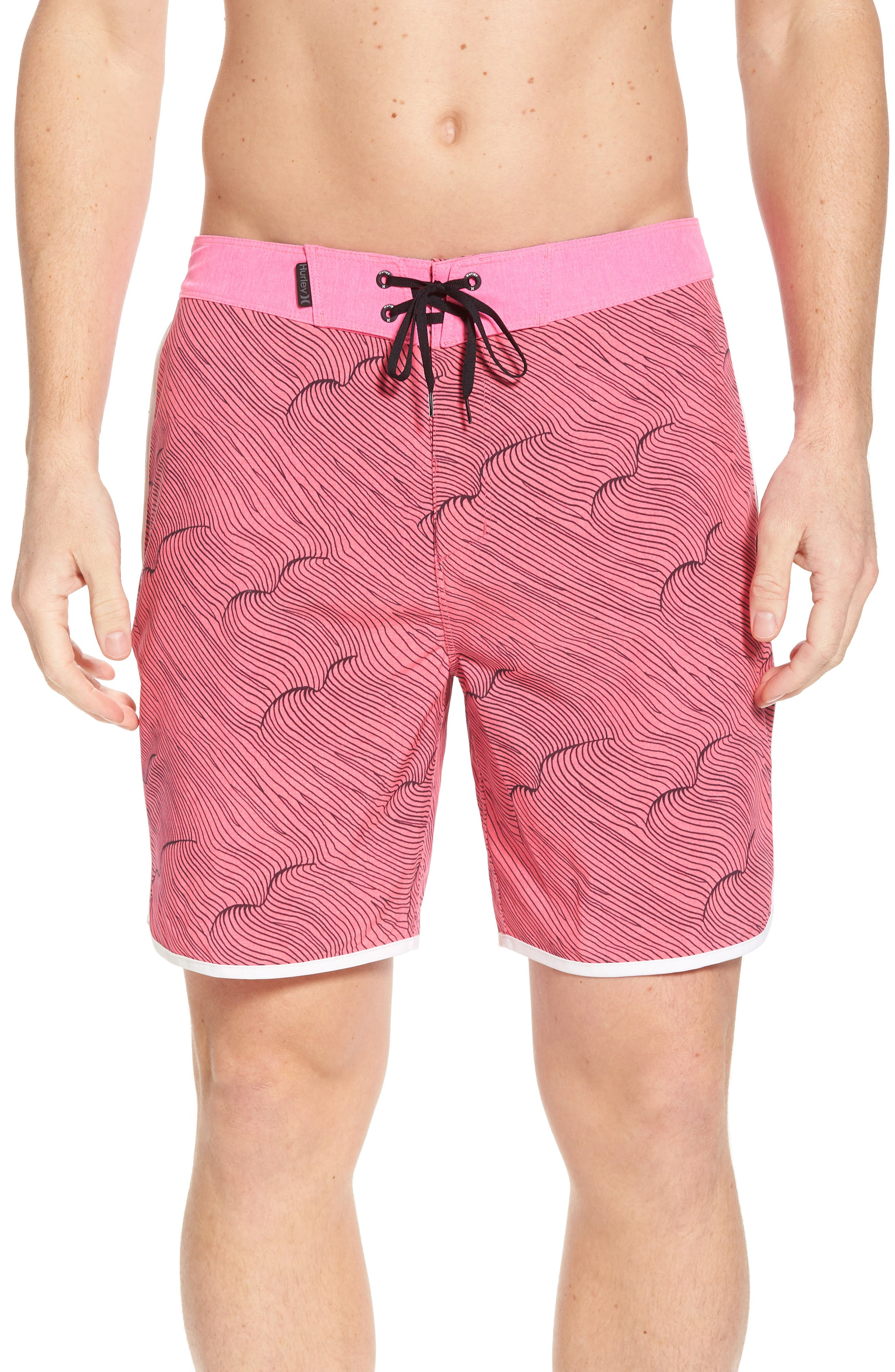 Phantom Thalia Street Board Shorts,                         Main,                         color, Hyper Pink/Black