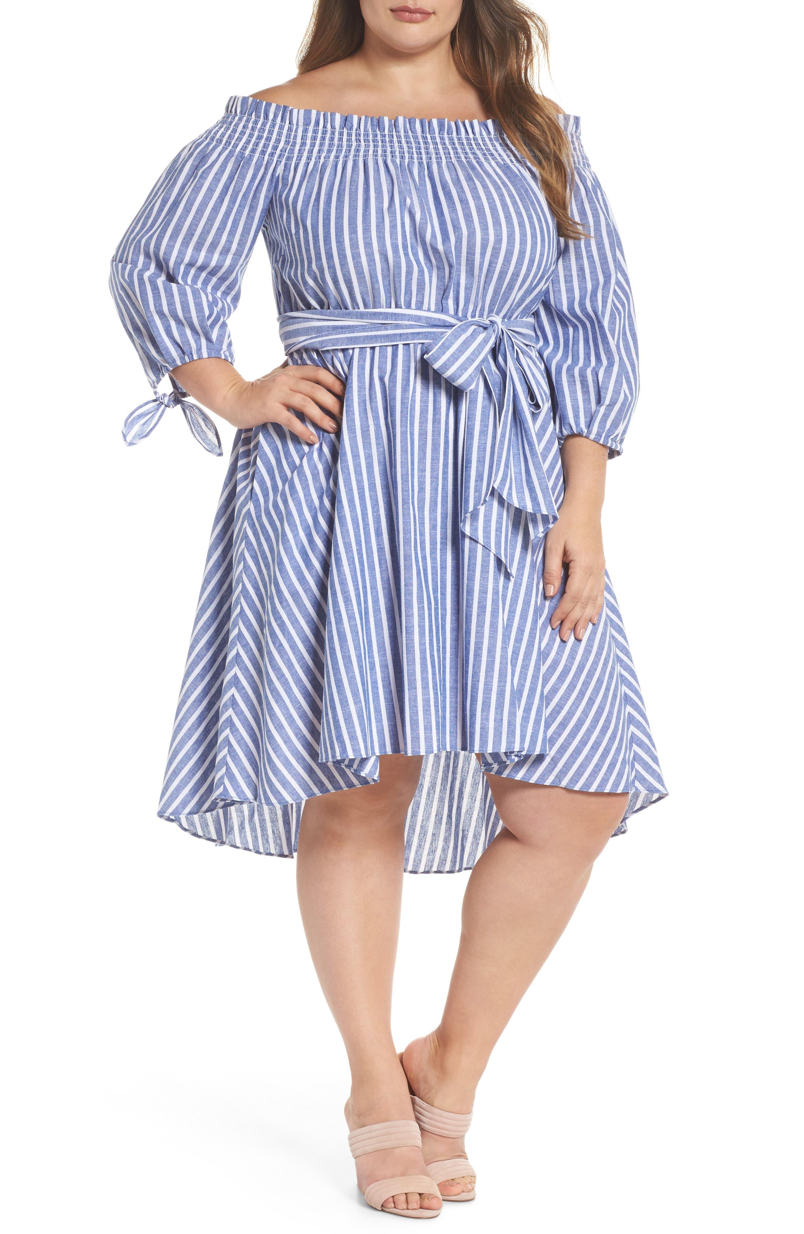 Main Image - Eliza J Off the Shoulder Dress (Plus Size)
