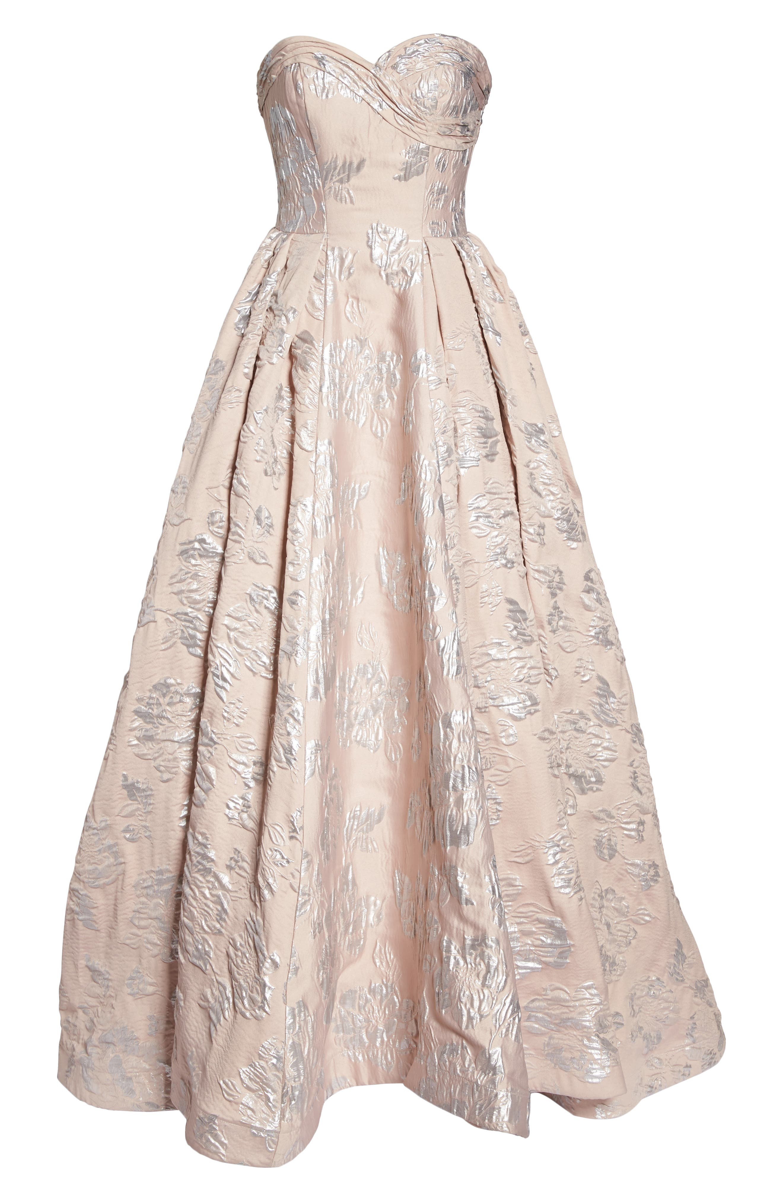 Brocade Bustier Gown,                             Alternate thumbnail 6, color,                             Blush