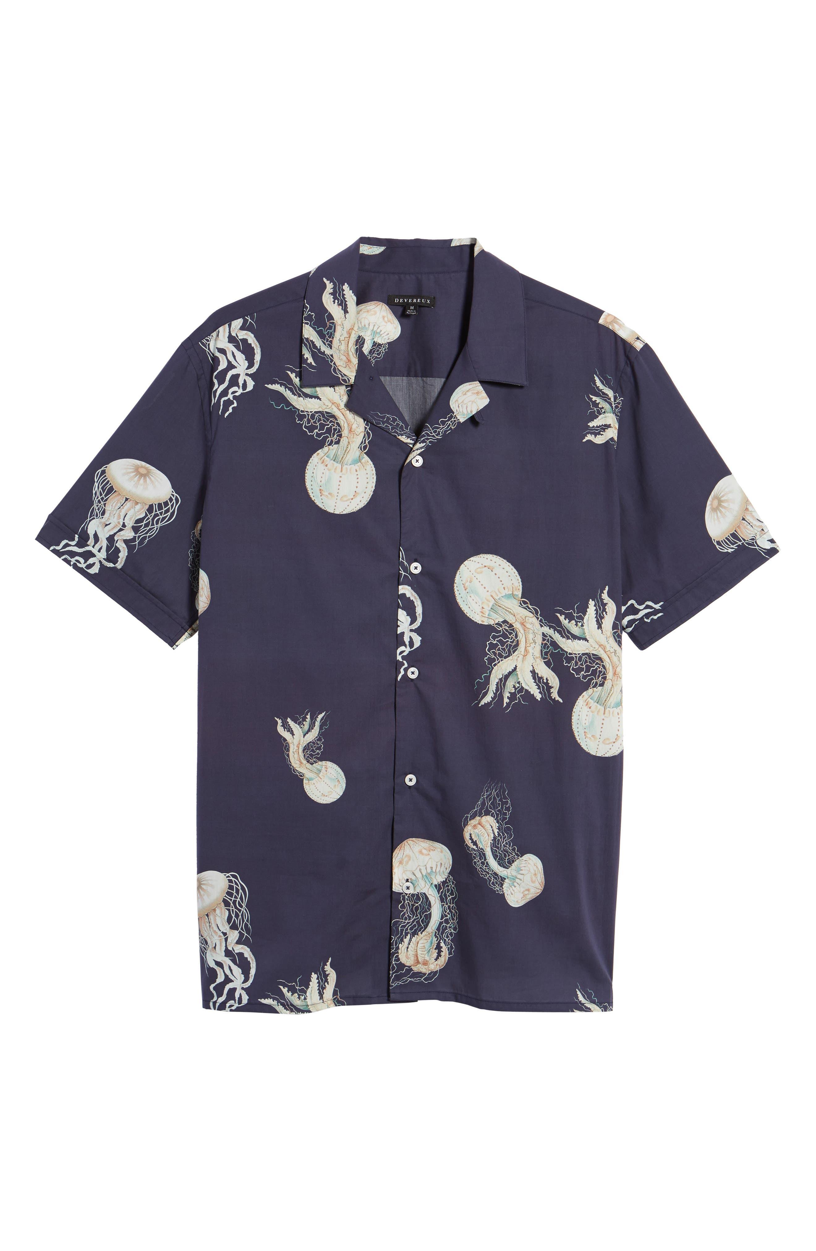 Playa Stripe Oversize Camp Shirt,                             Alternate thumbnail 6, color,                             Jellyfish