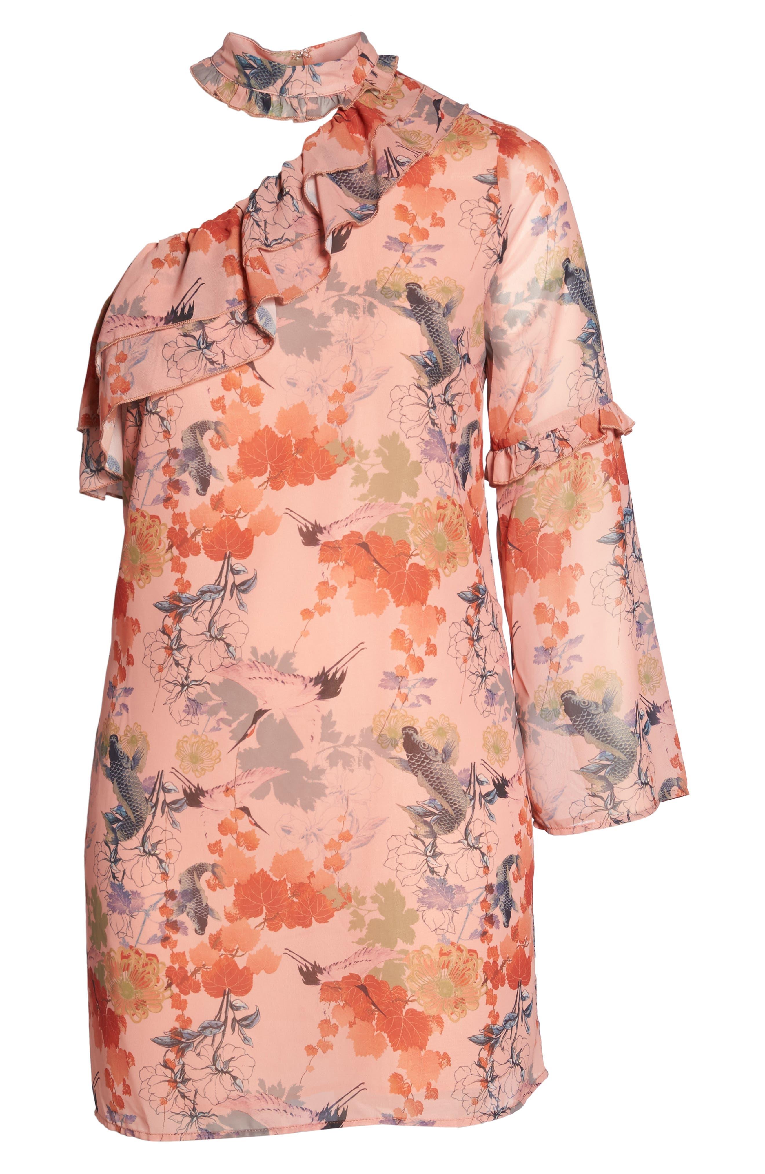 Choker One-Shoulder Dress,                             Alternate thumbnail 6, color,                             Multi