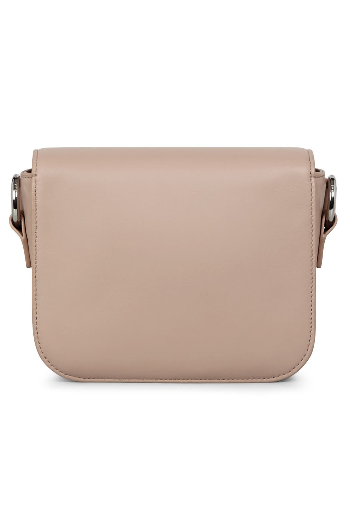 Suzi Studded Leather Clutch,                             Alternate thumbnail 3, color,                             Natural