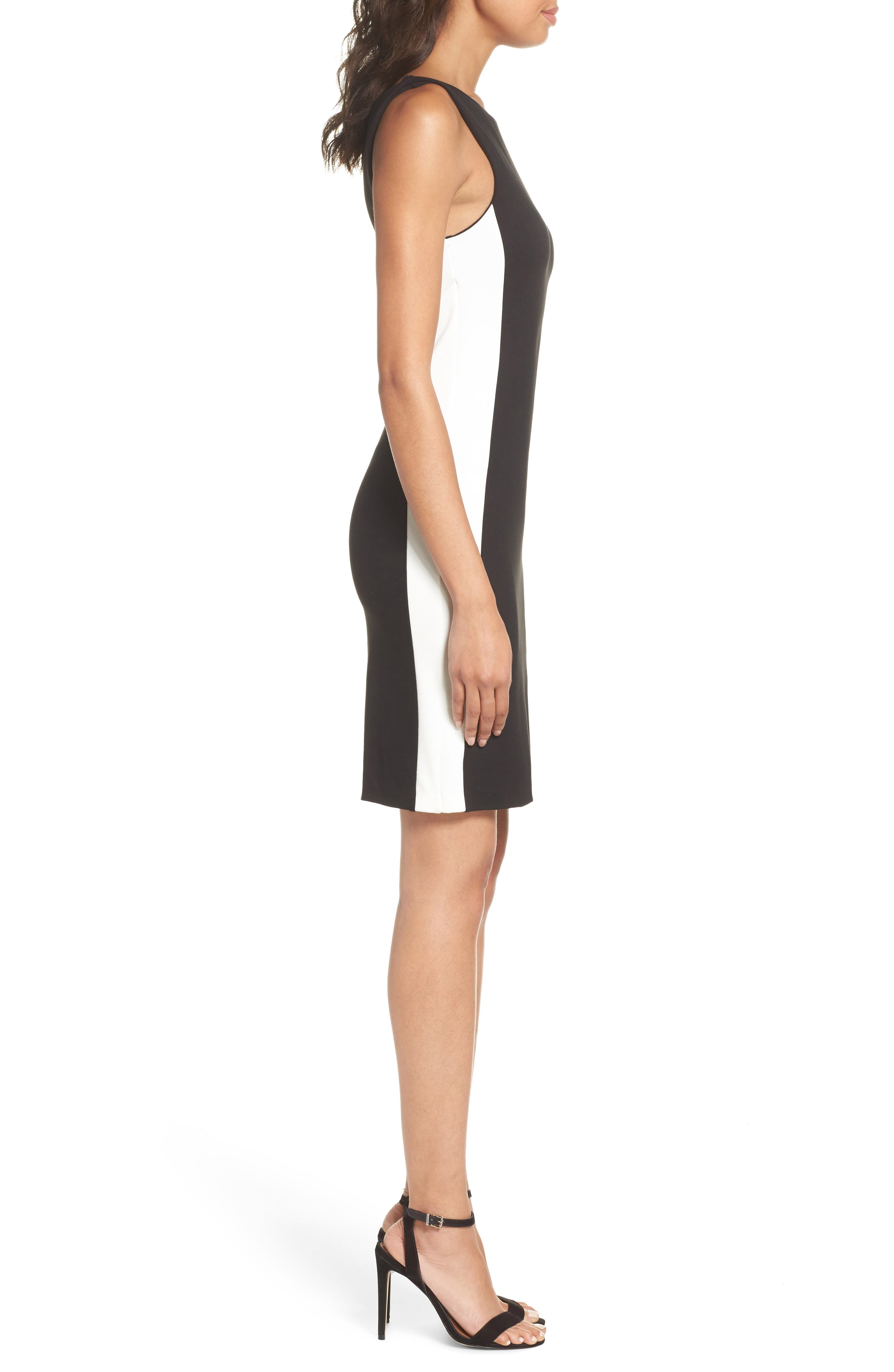 Lore Lula Colorblock Ponte Sheath Dress,                             Alternate thumbnail 3, color,                             Black/ Summer White