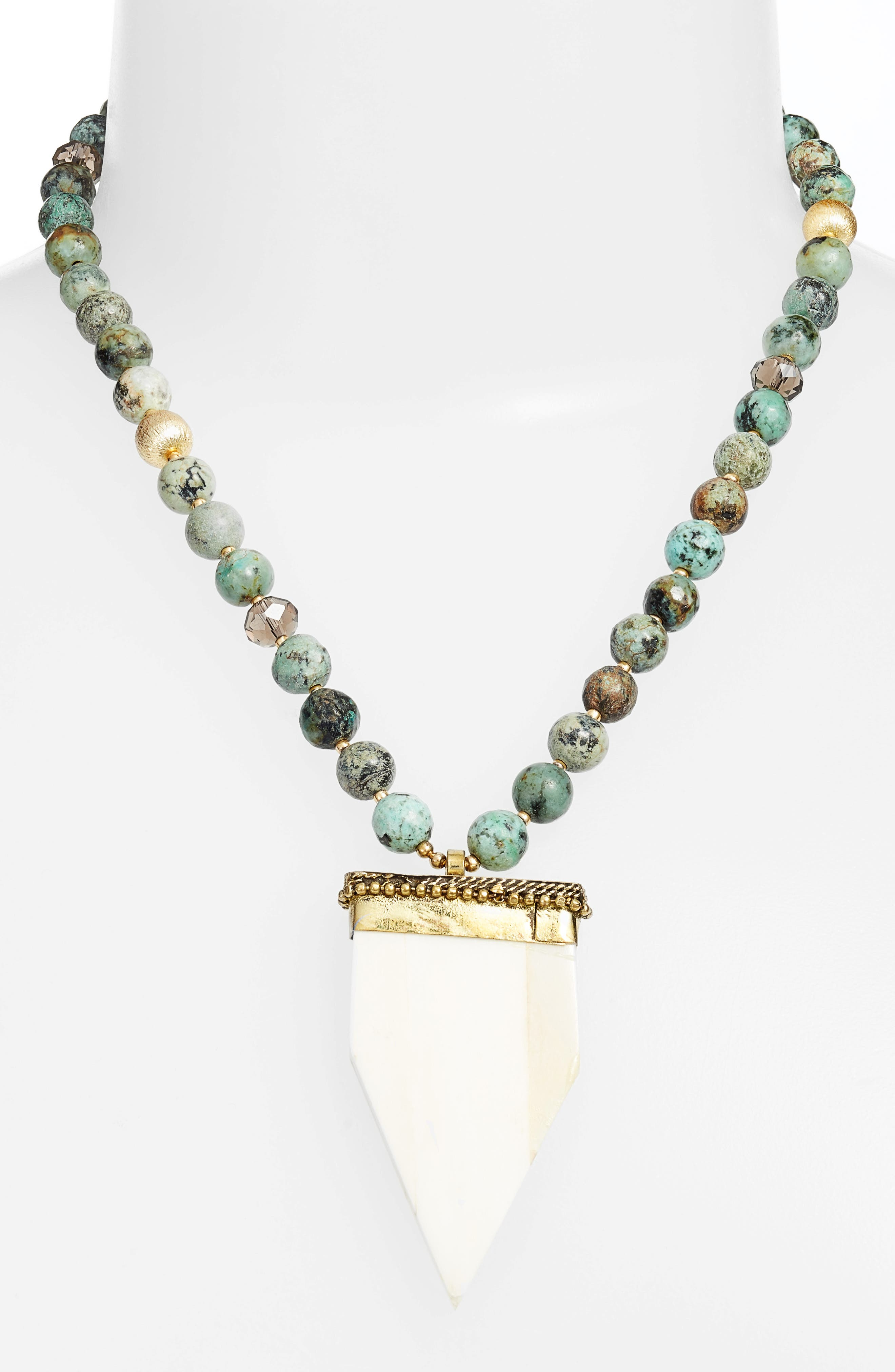 Love's Affect Phoenix Semiprecious Stone Statement Necklace,                             Alternate thumbnail 2, color,                             Green