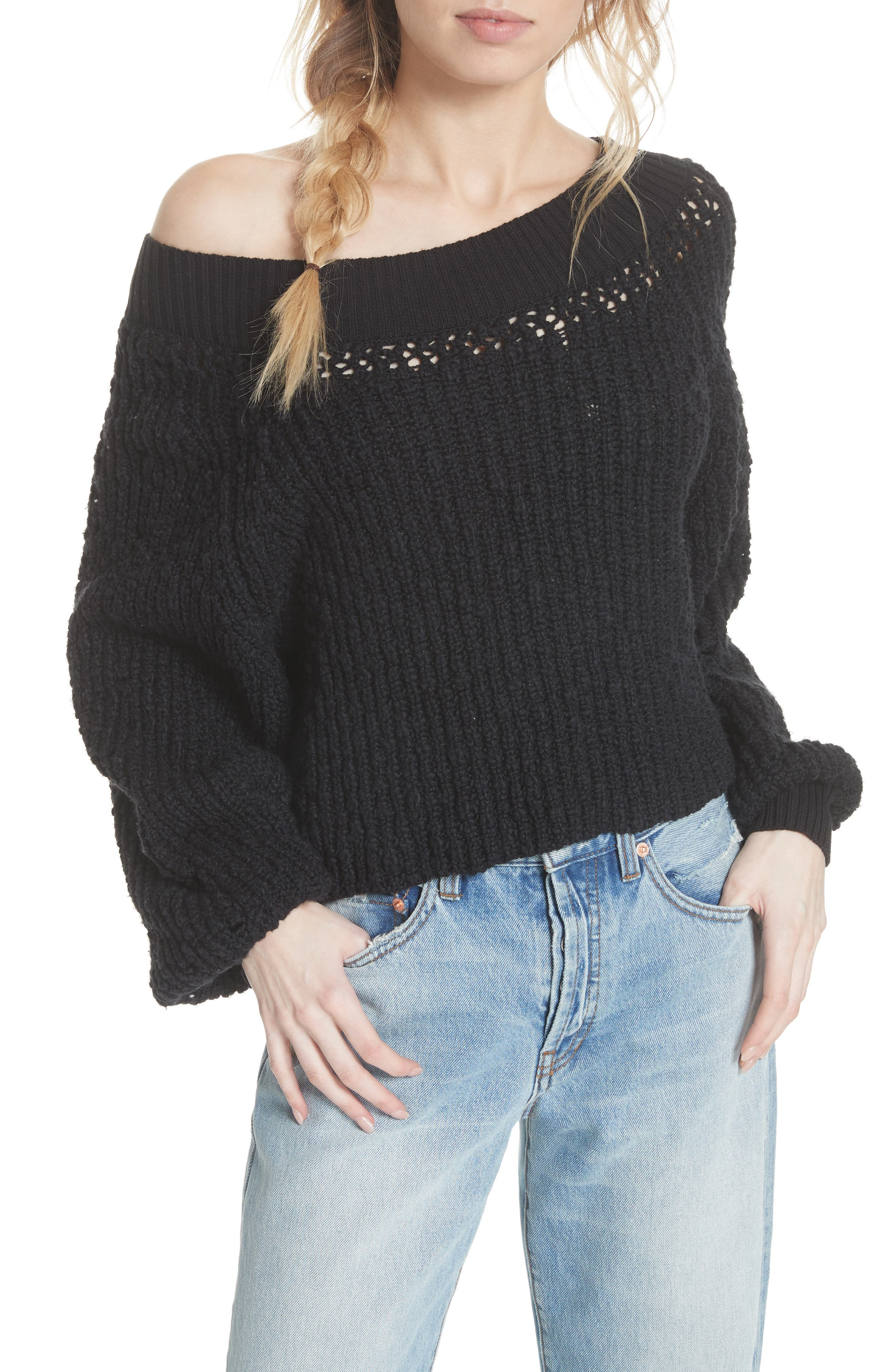 Pandora's Boatneck Sweater,                             Alternate thumbnail 2, color,                             Black